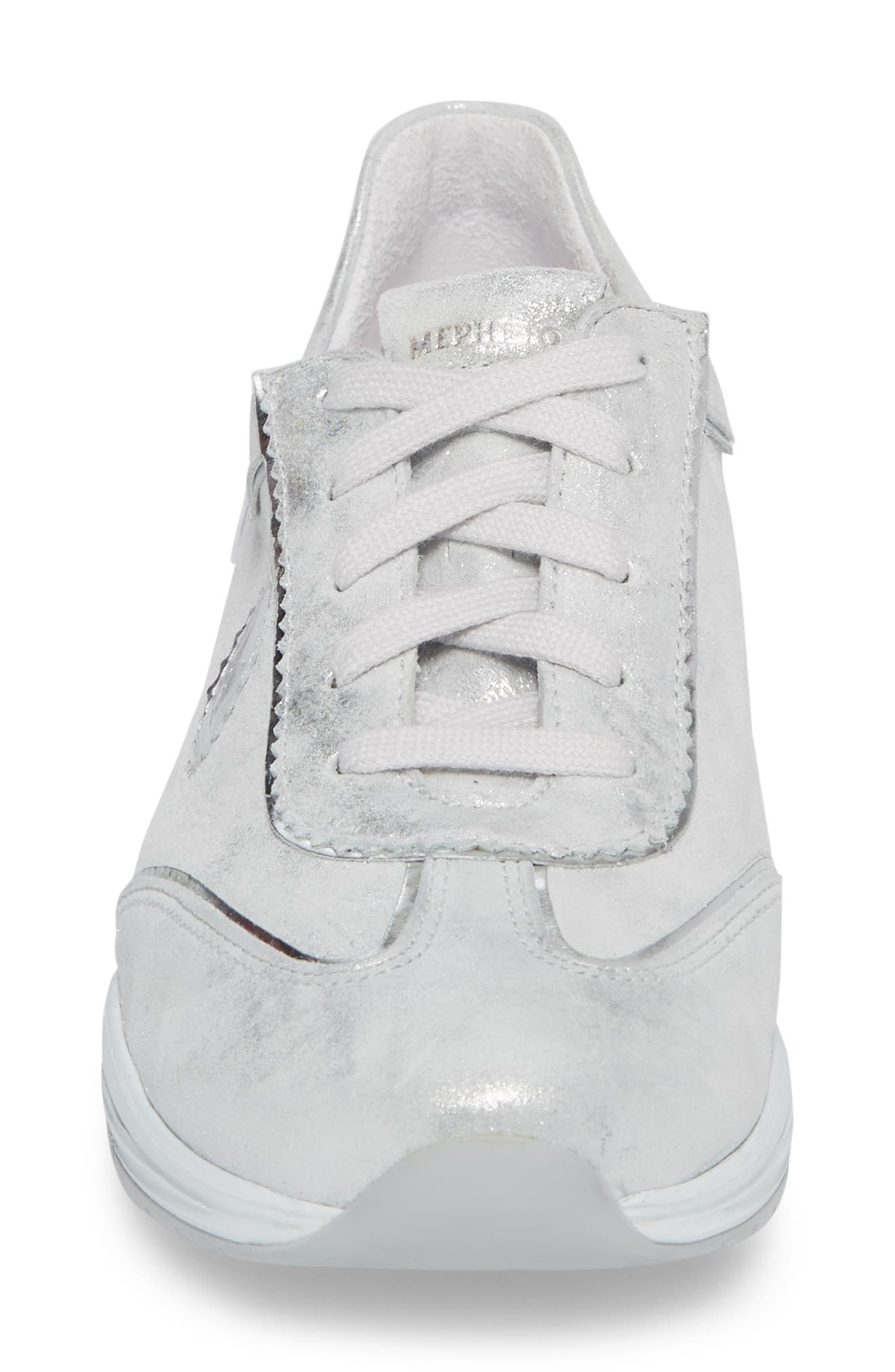 'Yael' Soft-Air Sneaker,                             Alternate thumbnail 4, color,                             Silver Leather
