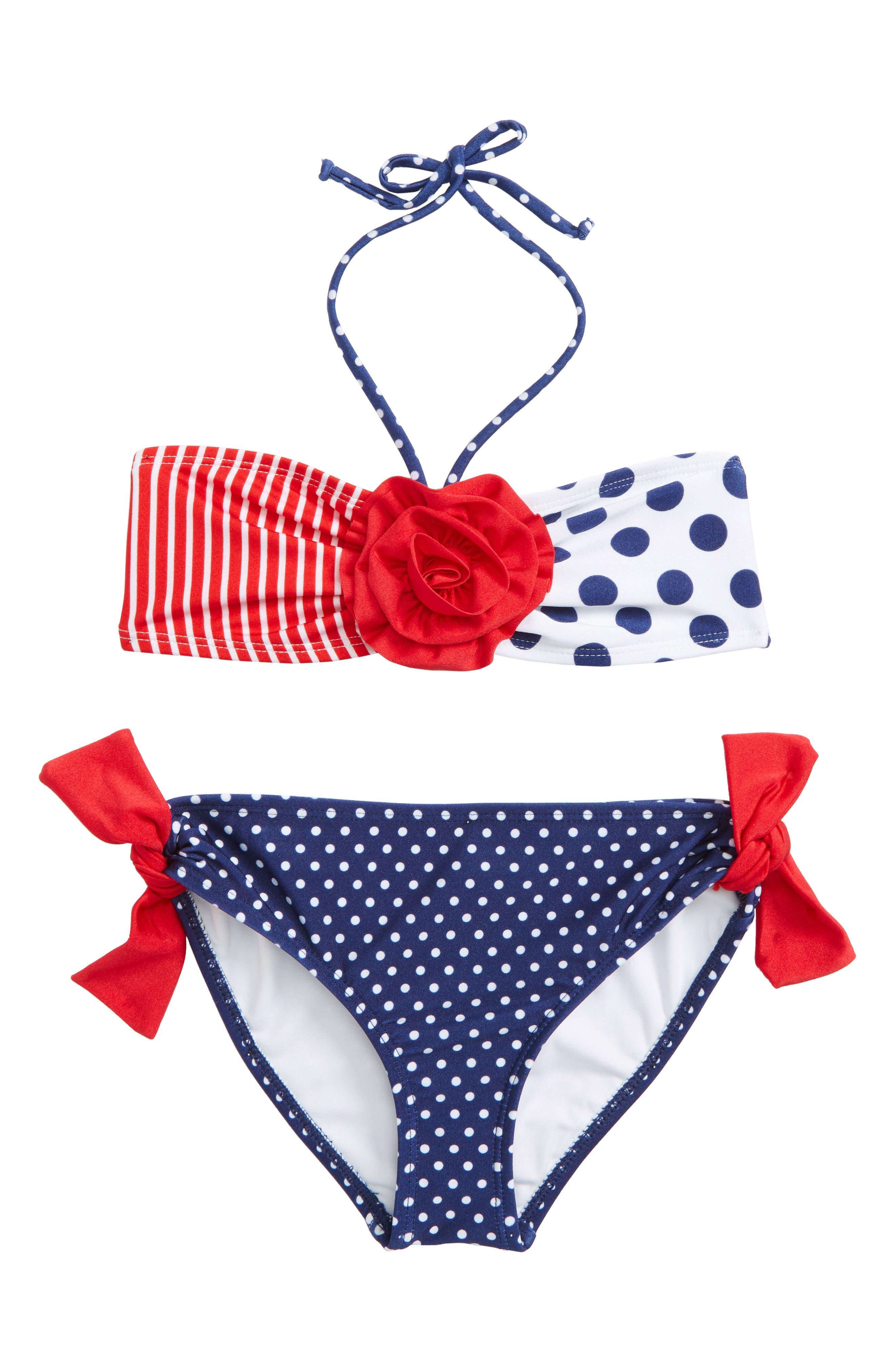 Love U Lots Dot & Stripe Two-Piece Swimsuit (Toddler Girls & Little Girls)