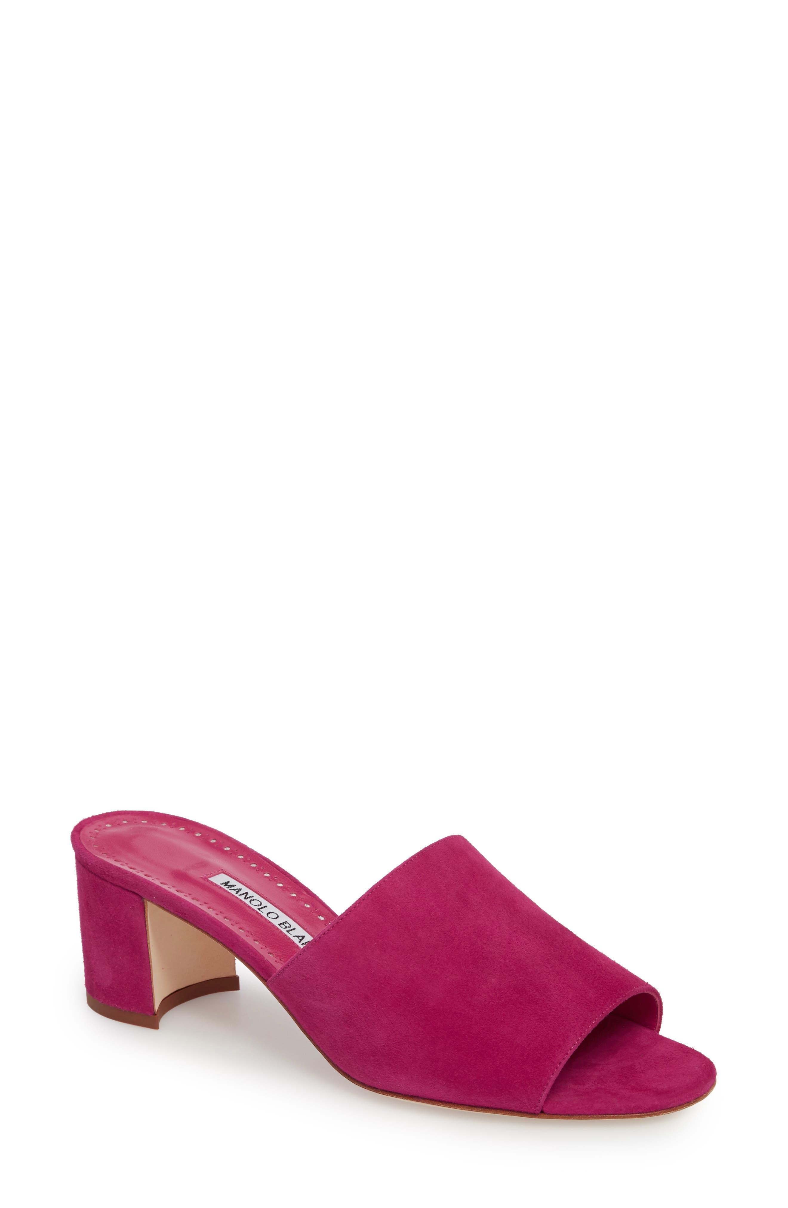 Rapallato Slide Sandal,                             Main thumbnail 1, color,                             Fuchsia Suede
