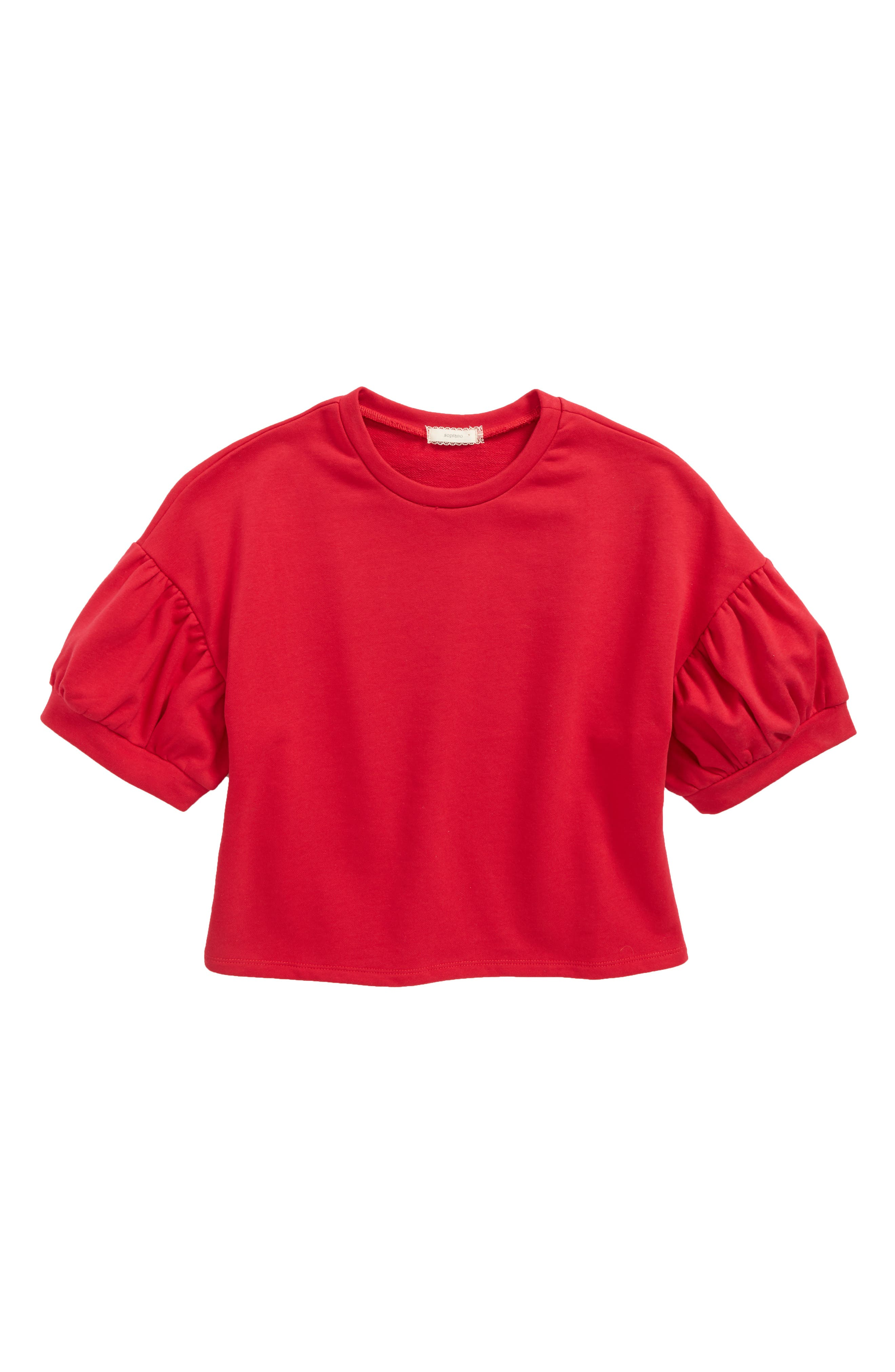 Lantern Sleeve Top,                         Main,                         color, Red