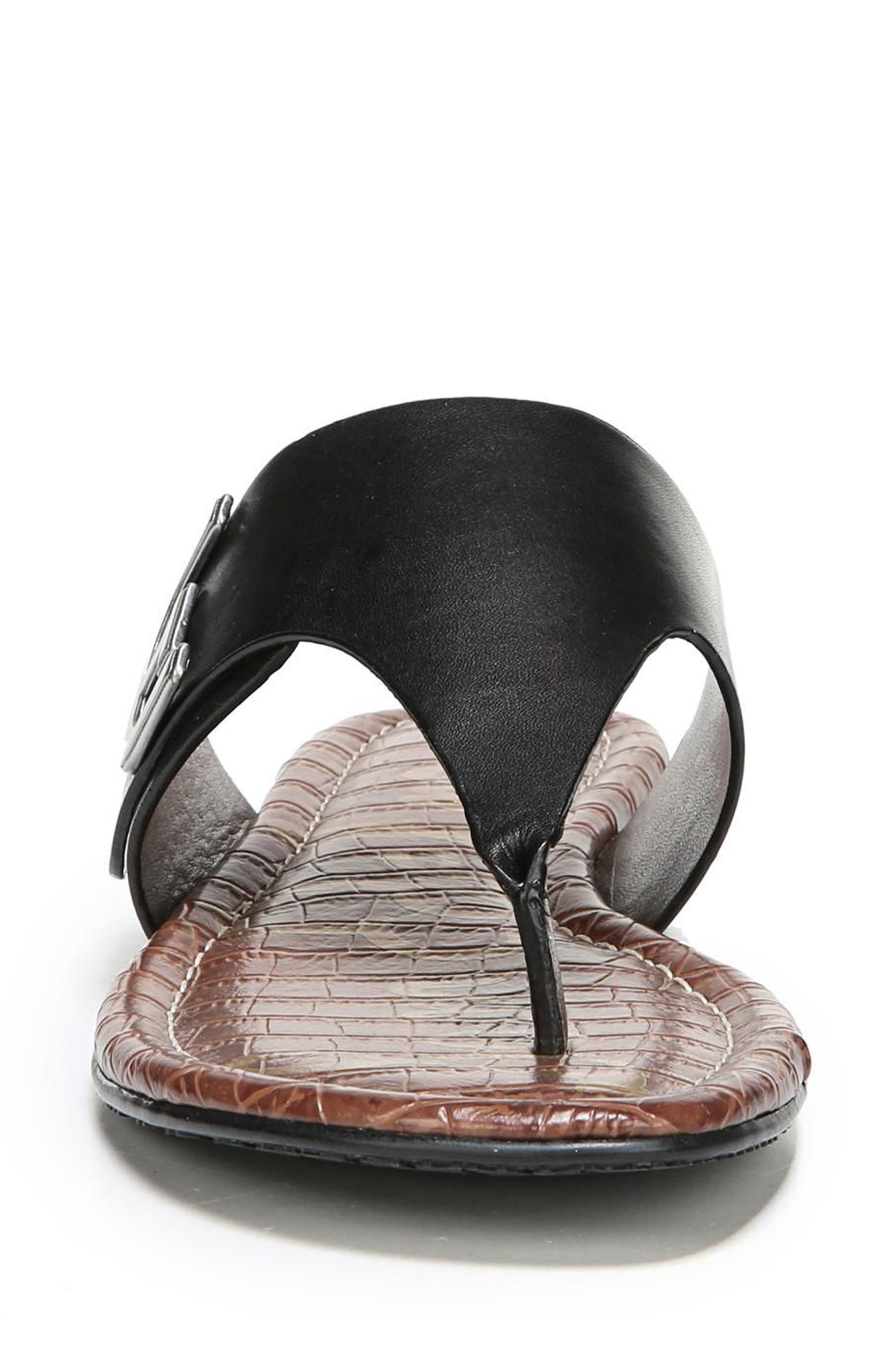 Barry V-Strap Thong Sandal,                             Alternate thumbnail 4, color,                             Black Leather