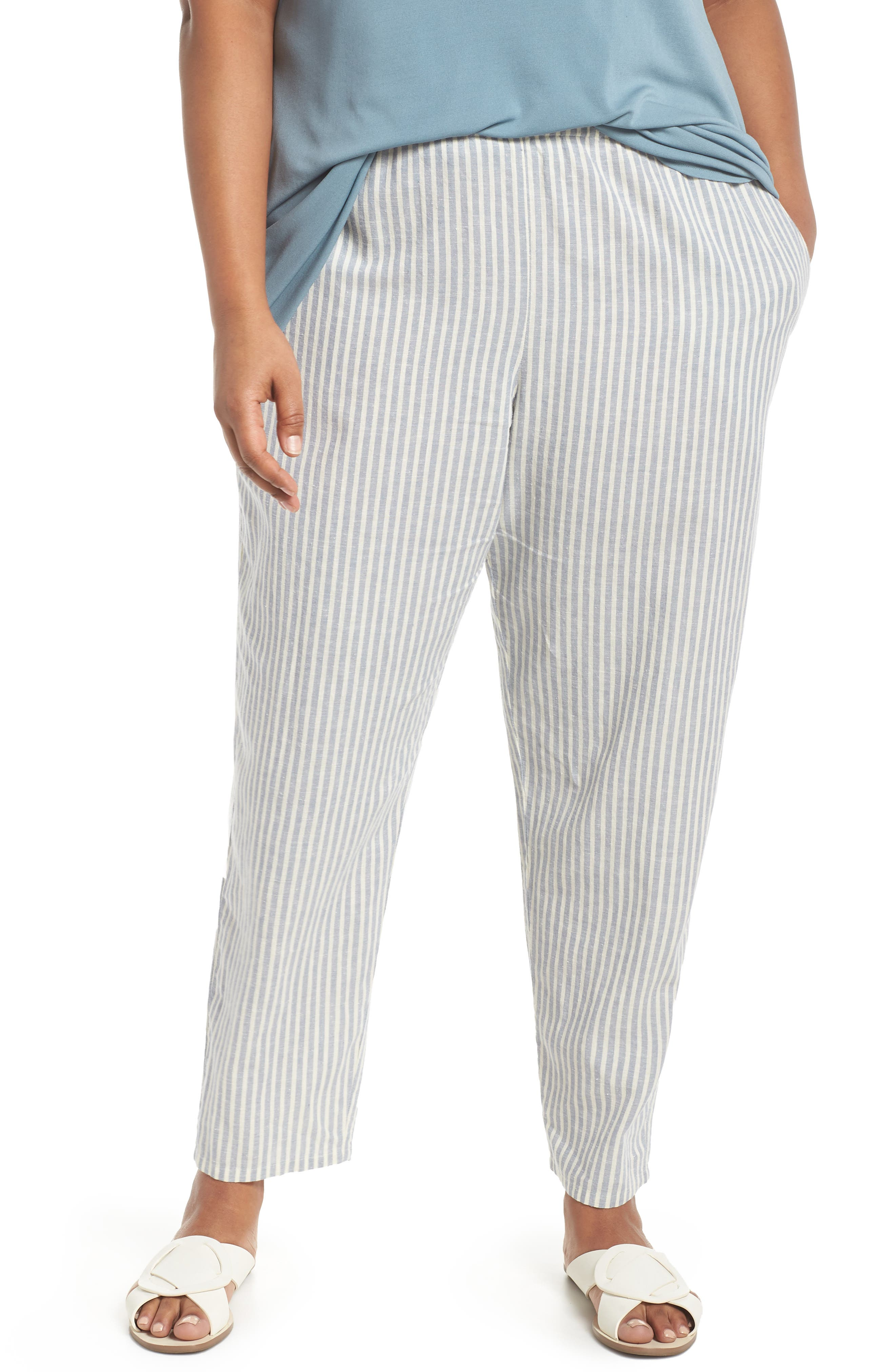Stripe Ankle Hemp & Cotton Pants,                             Main thumbnail 1, color,                             Chambray