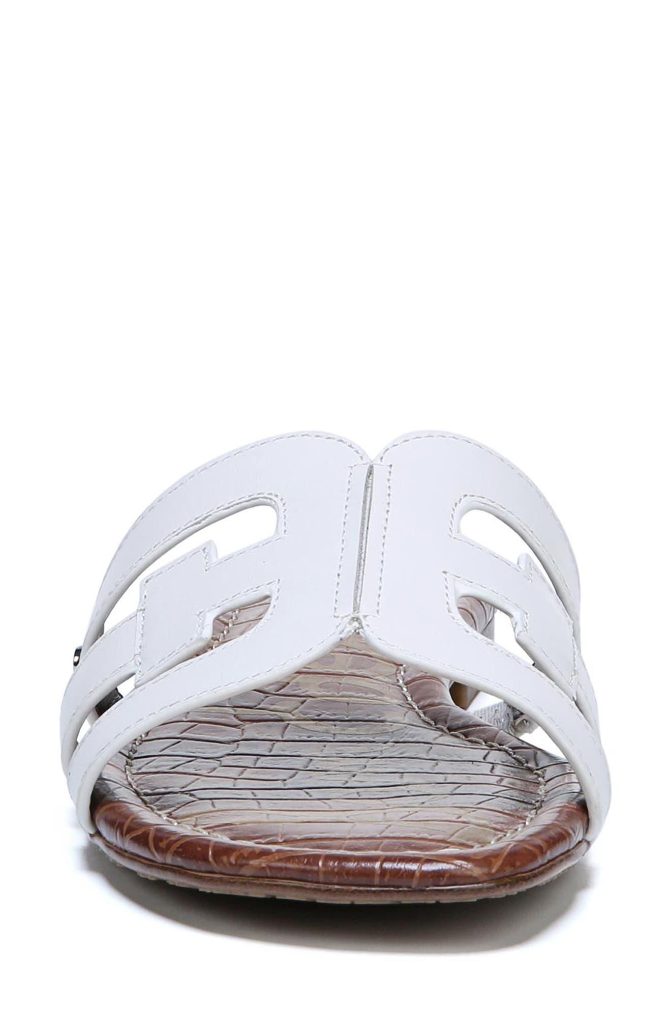Bay Cutout Slide Sandal,                             Alternate thumbnail 4, color,                             Bright White Leather