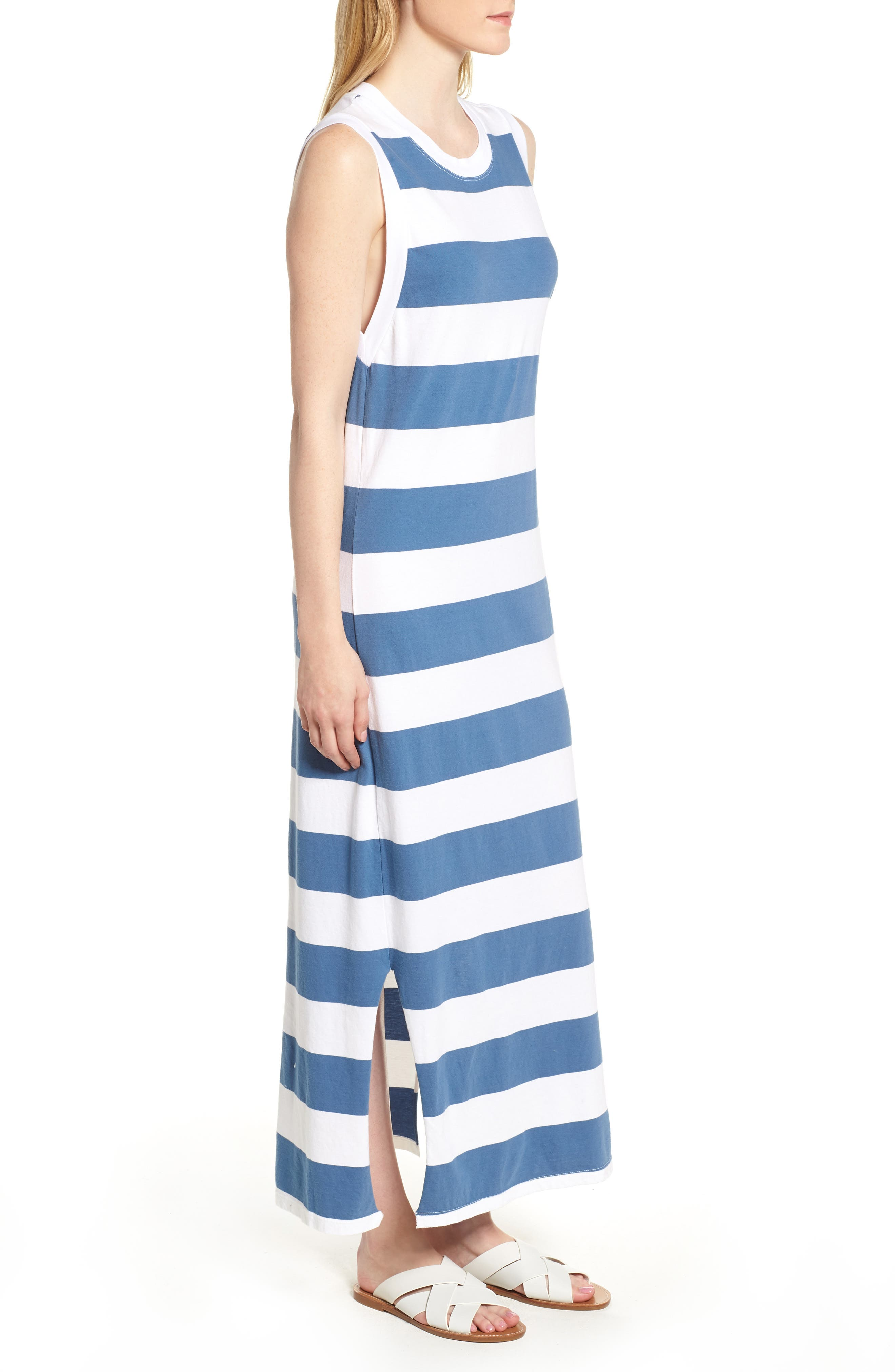 Rugby Stripe Maxi Dress,                             Alternate thumbnail 3, color,                             White/ Blue