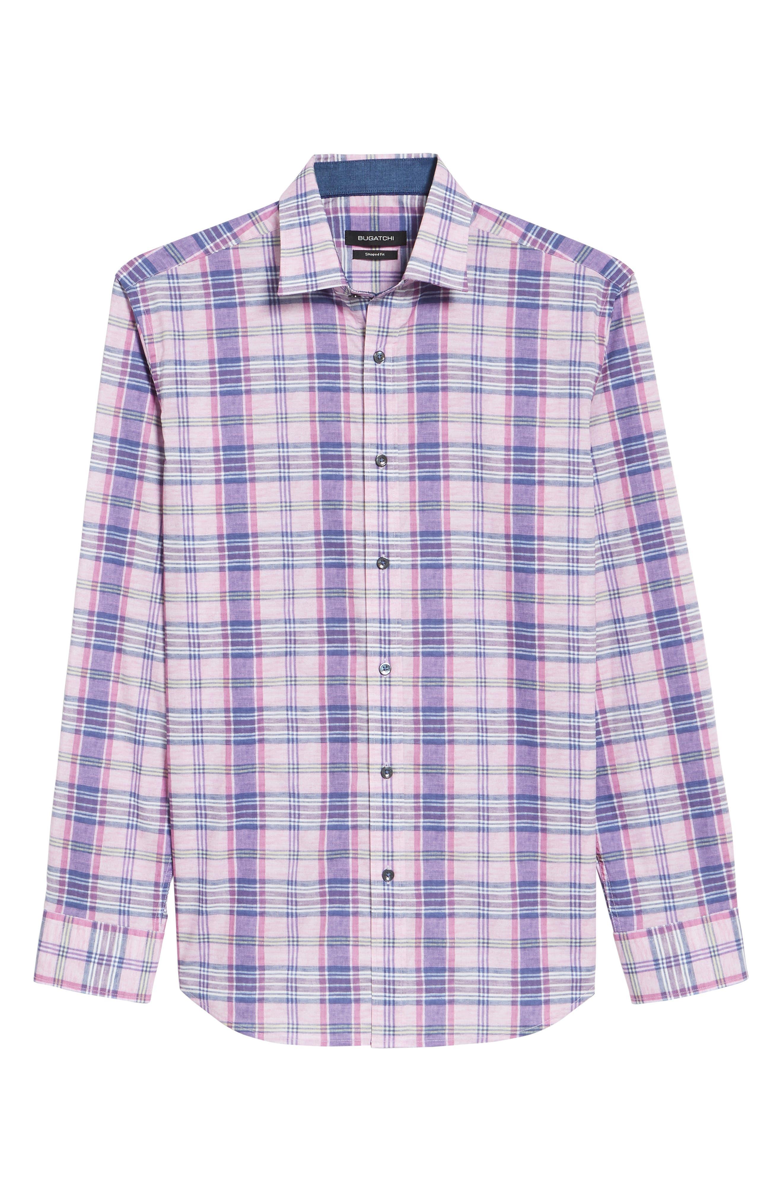 Summer Plaid Shaped Fit Sport Shirt,                             Alternate thumbnail 6, color,                             Mist