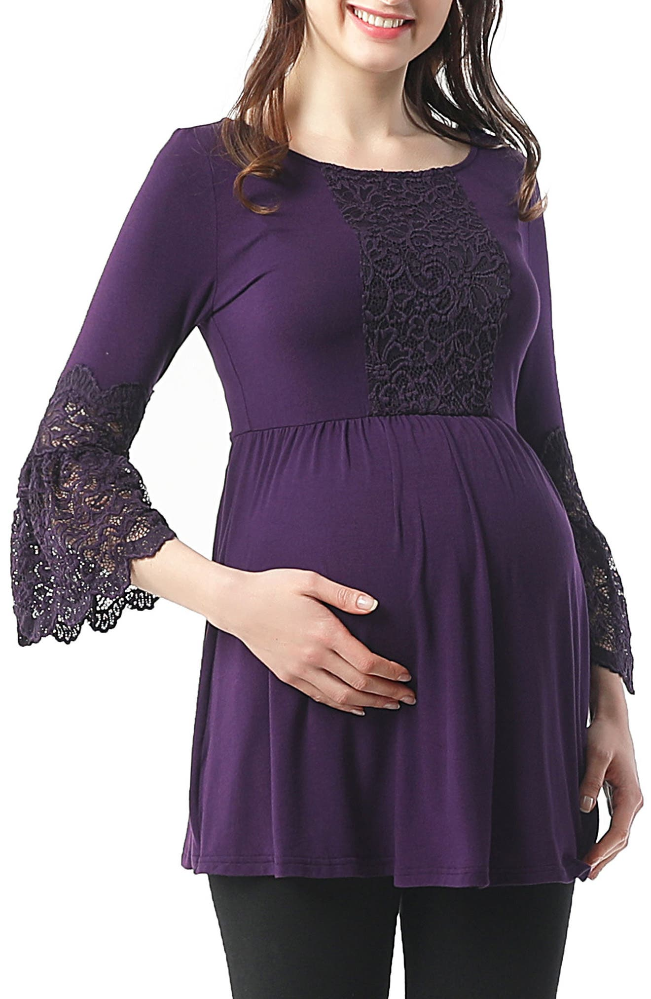 Alexis Bell Sleeve Babydoll Maternity Top,                         Main,                         color, Eggplant