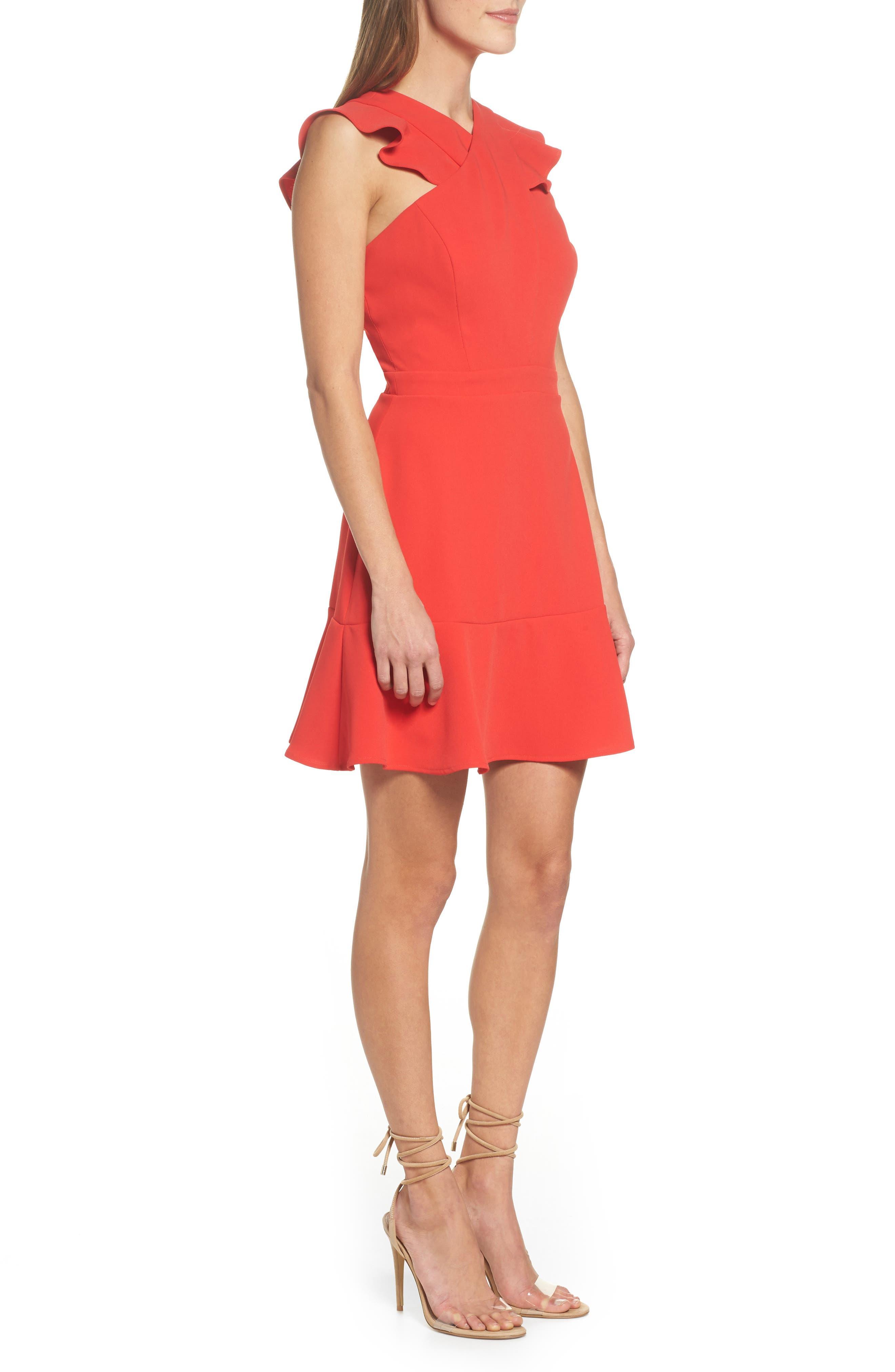 Cross Front Ruffle Dress,                             Alternate thumbnail 2, color,                             Red Mars