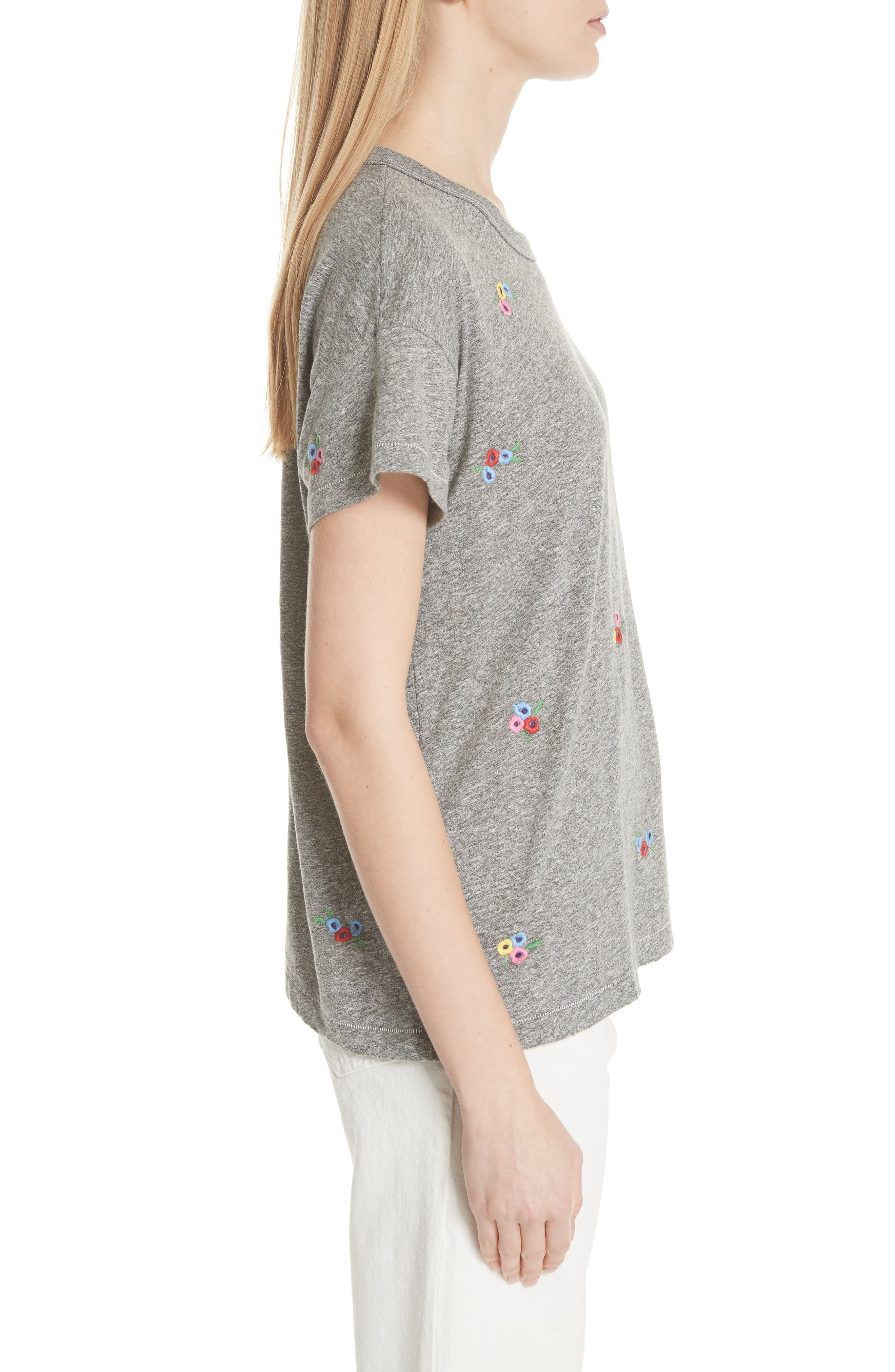 The Boxy Crew Tee,                             Alternate thumbnail 3, color,                             Heather Grey W/ Bouquet Emb