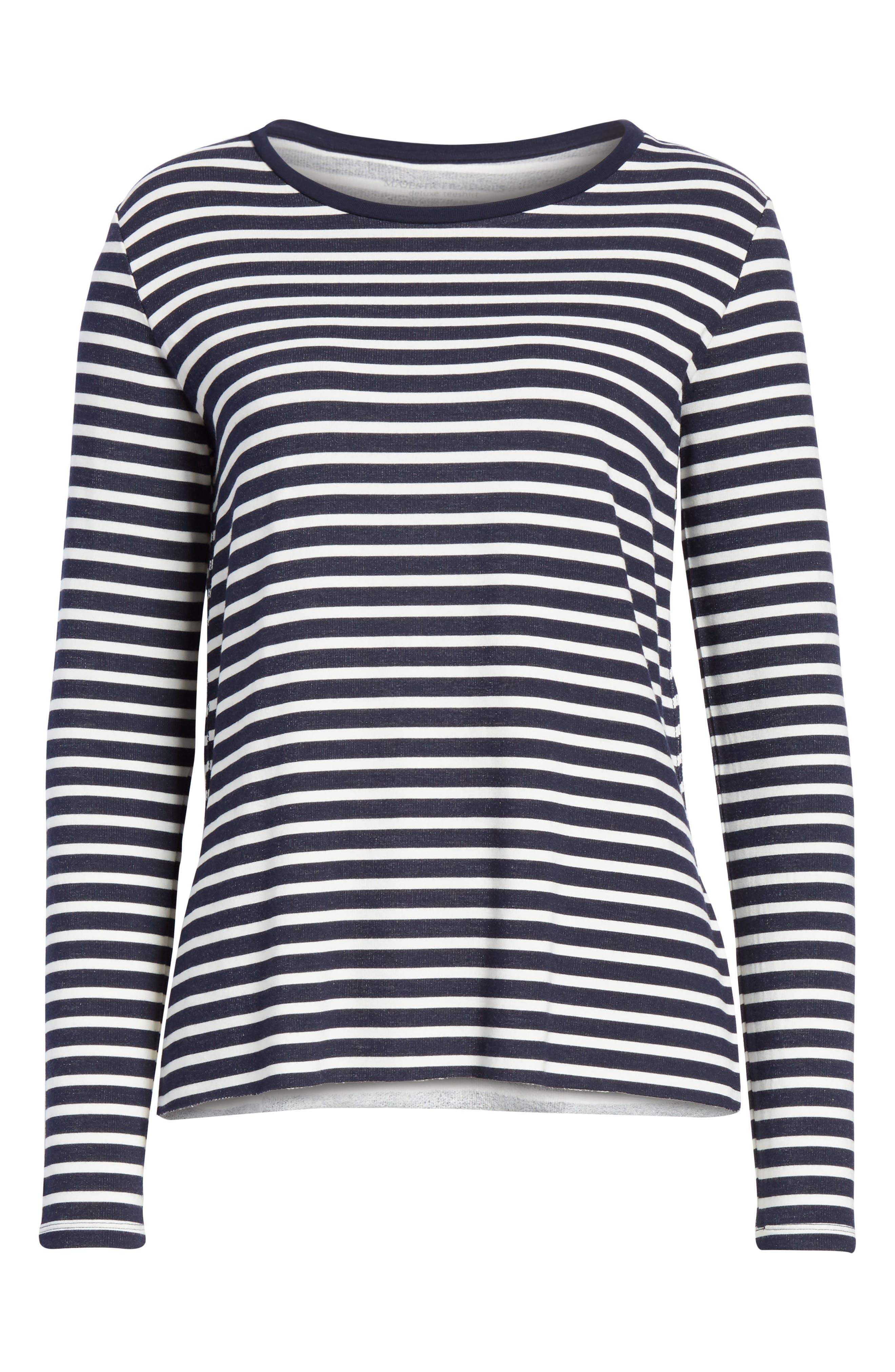Stripe Sweatshirt,                             Alternate thumbnail 6, color,                             Marine/ Milk