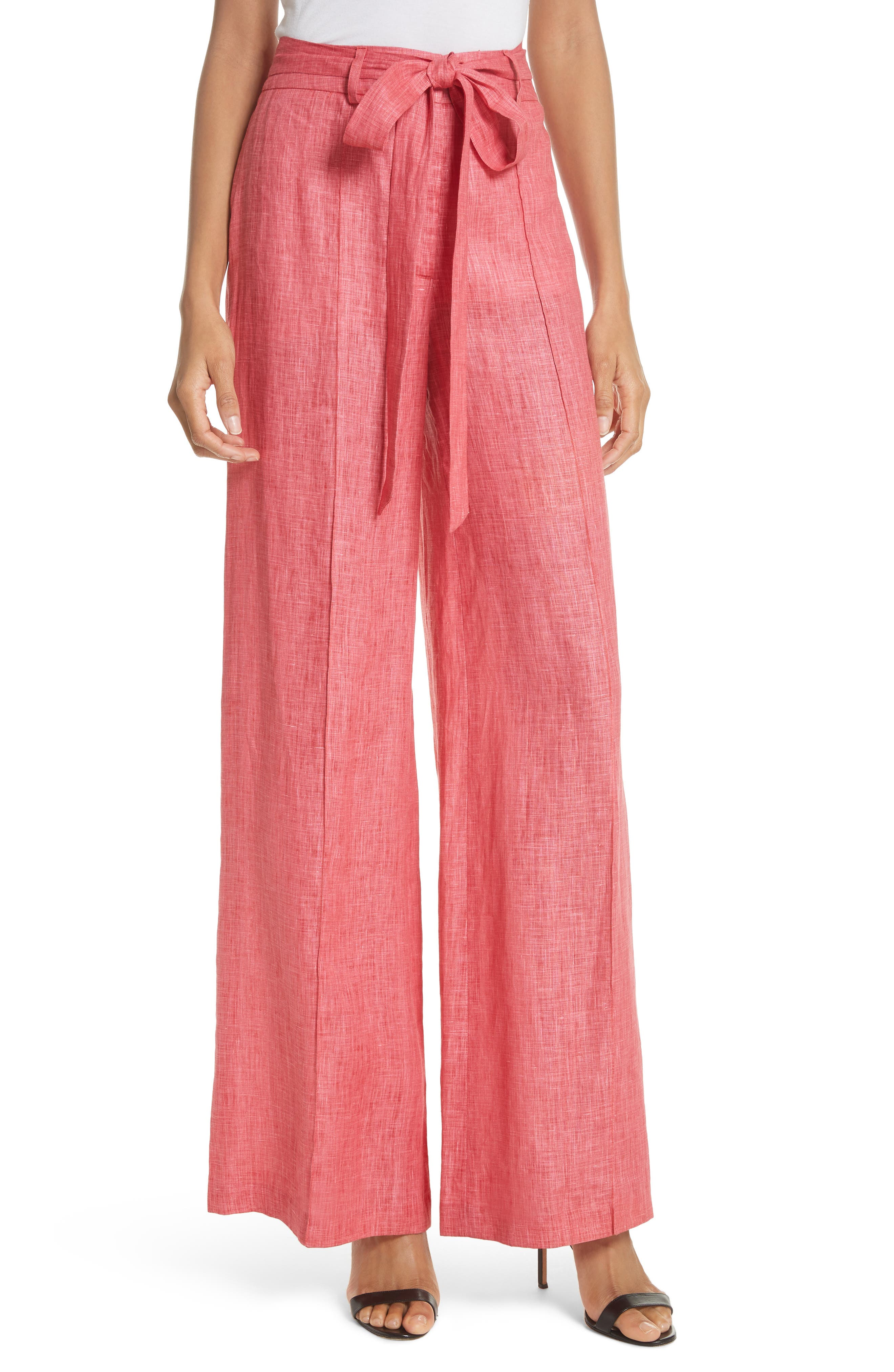 Hayden Belted Wide Leg Italian Linen Pants,                         Main,                         color, Poppy