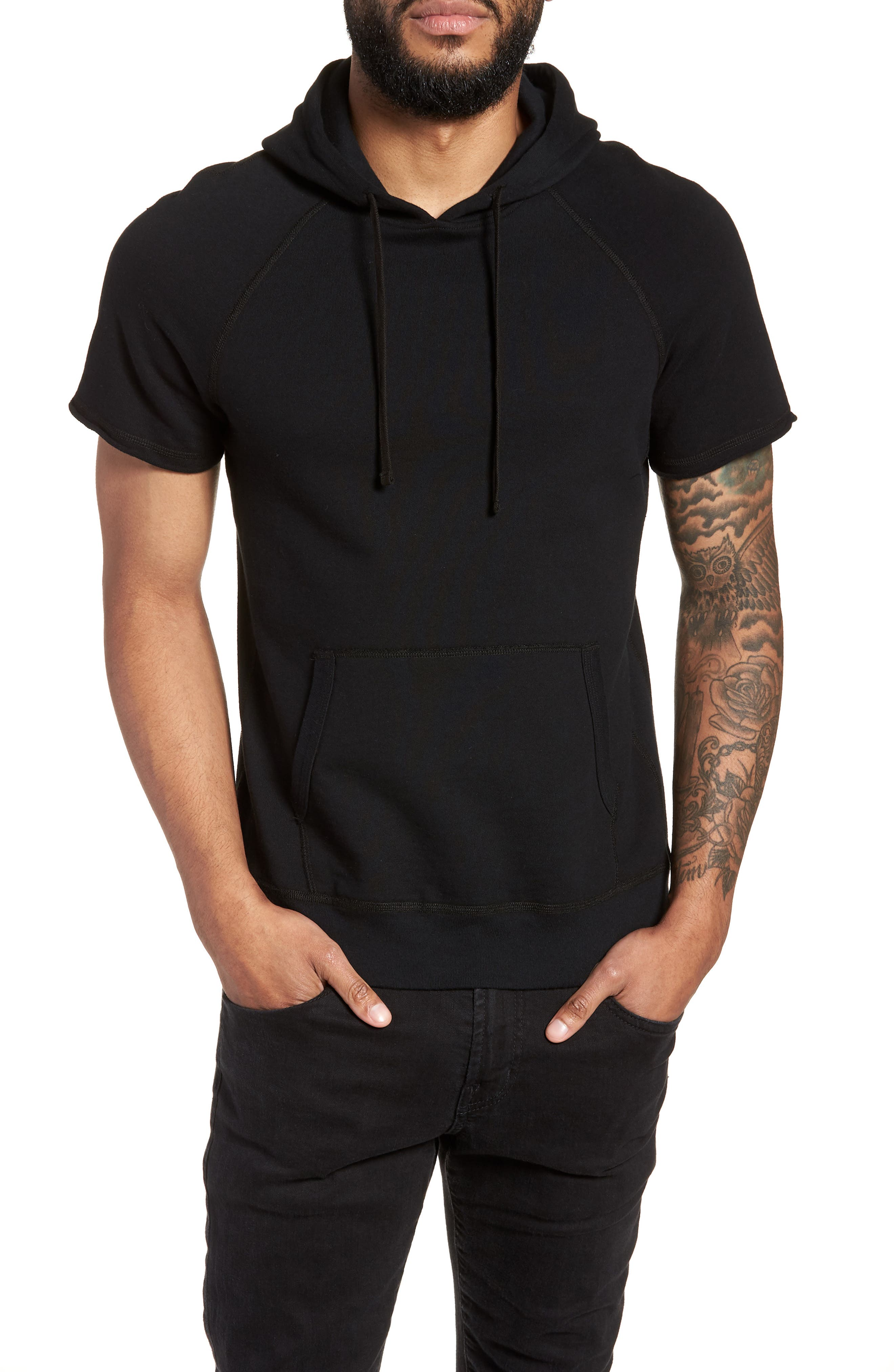 Cutoff Hoodie,                         Main,                         color, Black