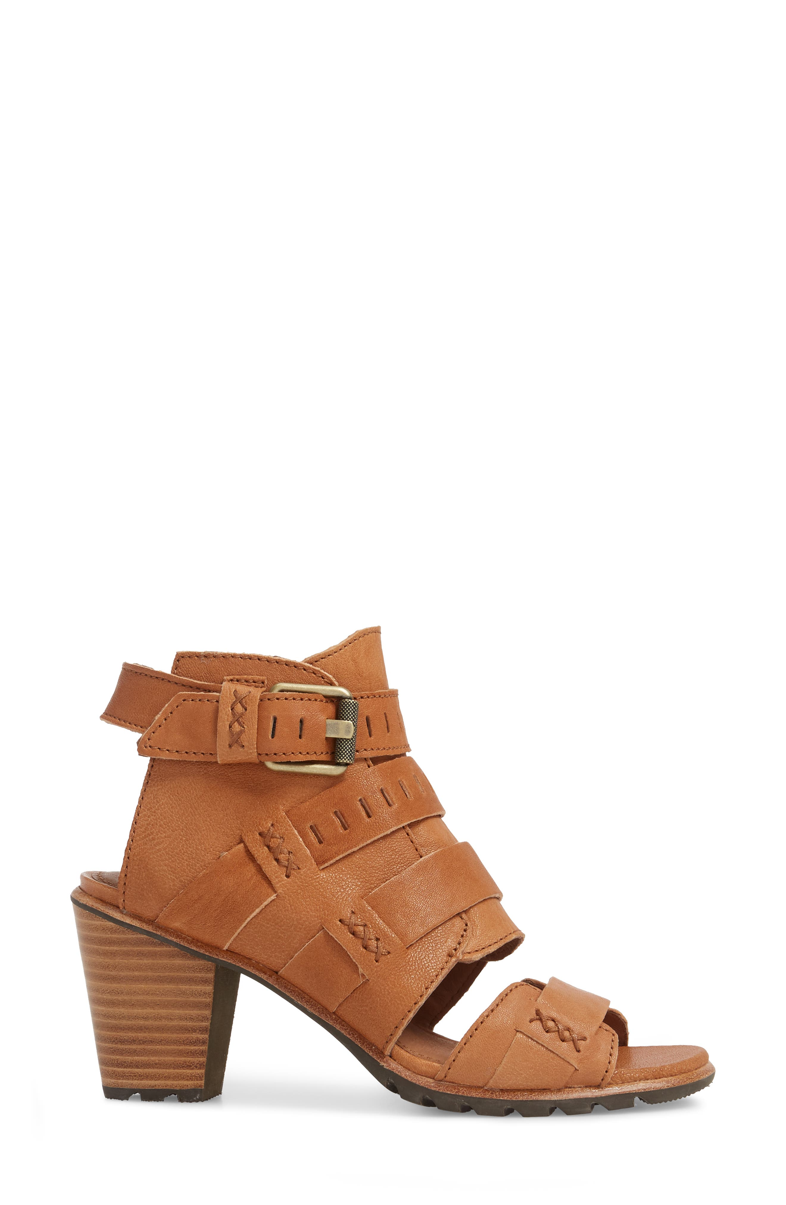 Nadia Buckle Bootie,                             Alternate thumbnail 3, color,                             Camel Brown