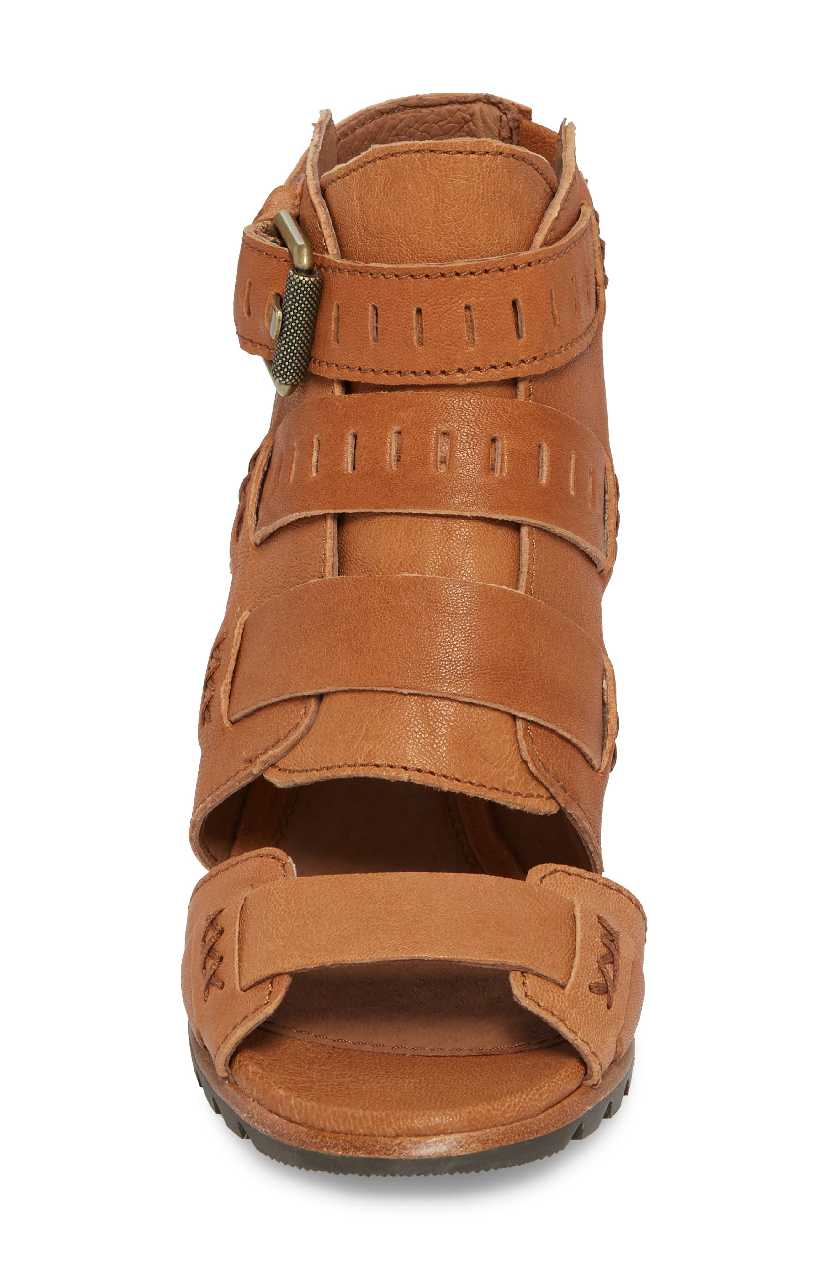 Nadia Buckle Bootie,                             Alternate thumbnail 4, color,                             Camel Brown