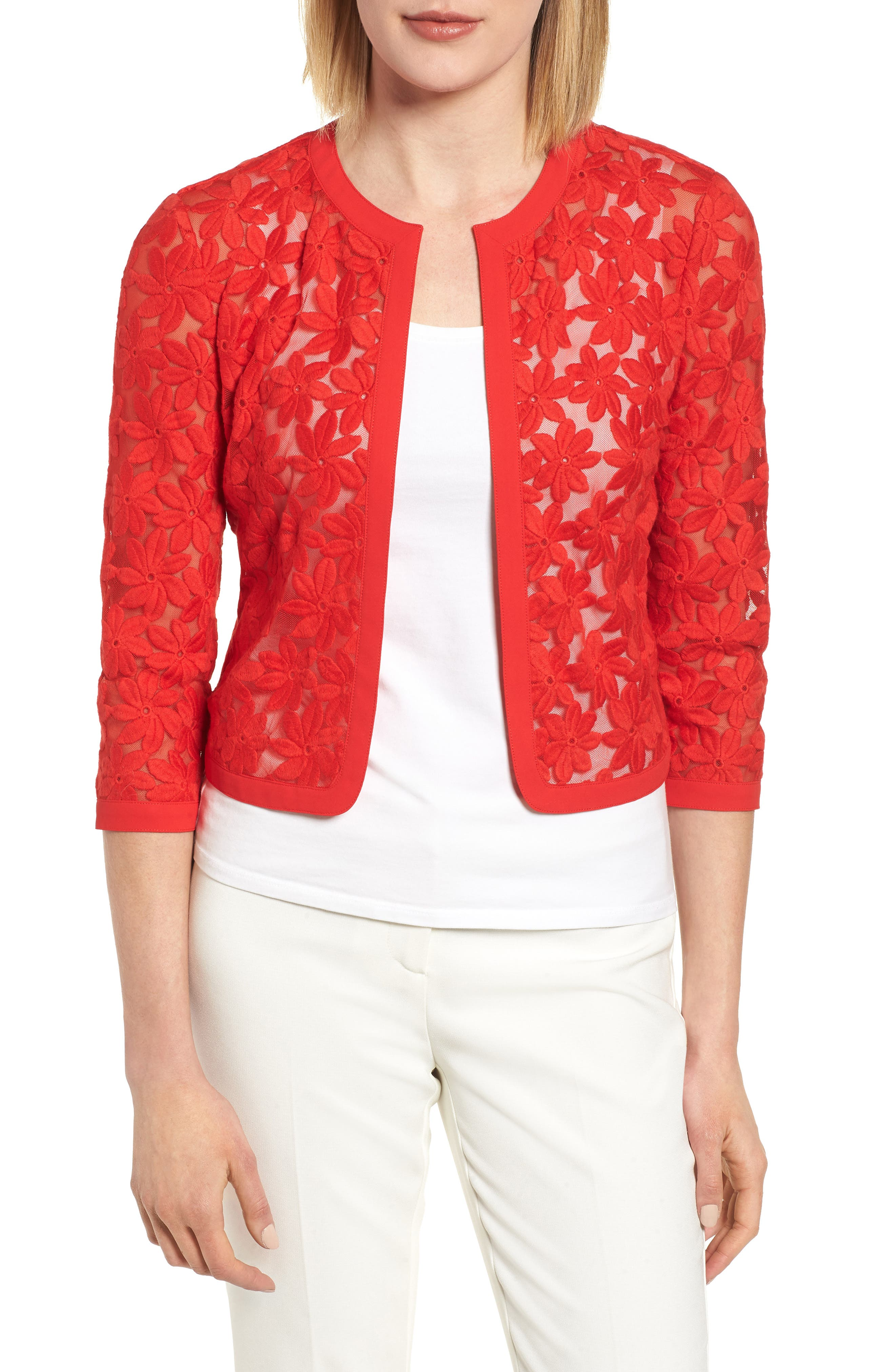 Floral Embroidered Mesh Cardigan,                             Main thumbnail 1, color,                             Tomato