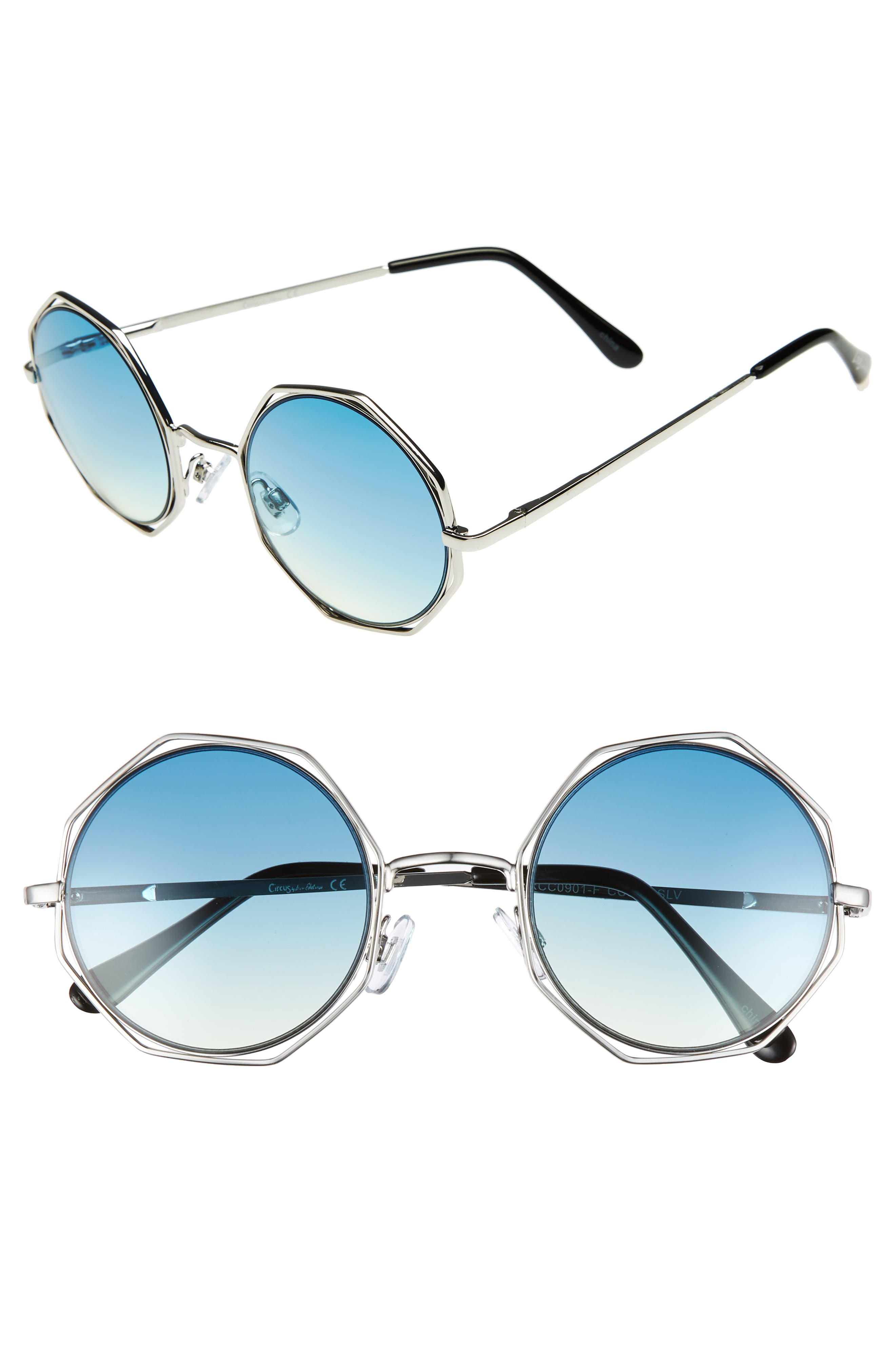 50mm Round Sunglasses,                             Main thumbnail 1, color,                             Silver