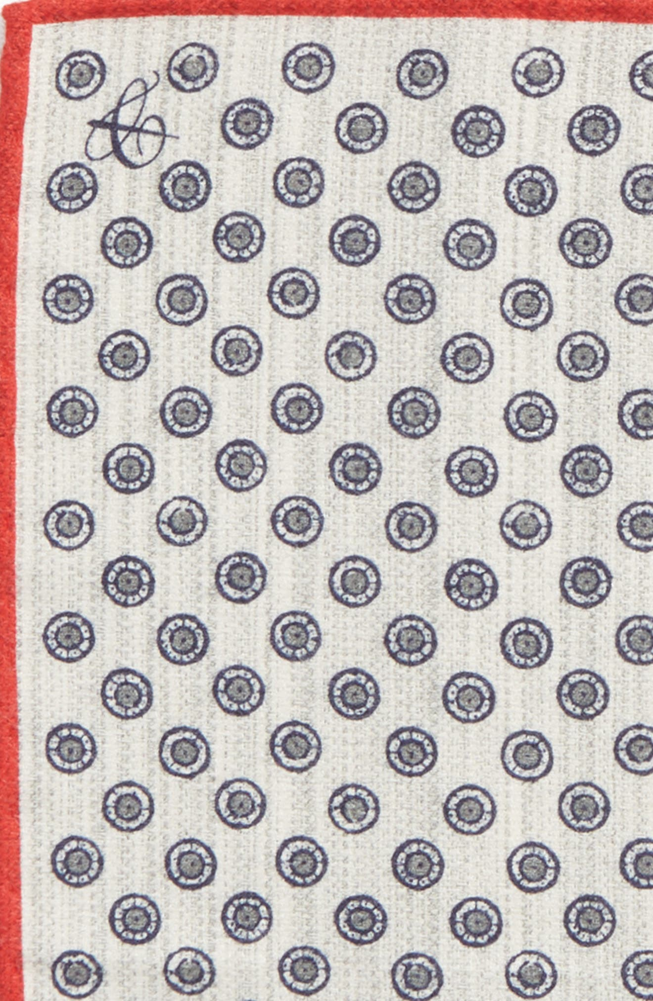 Medallion Pocket Square,                             Alternate thumbnail 3, color,                             Grey