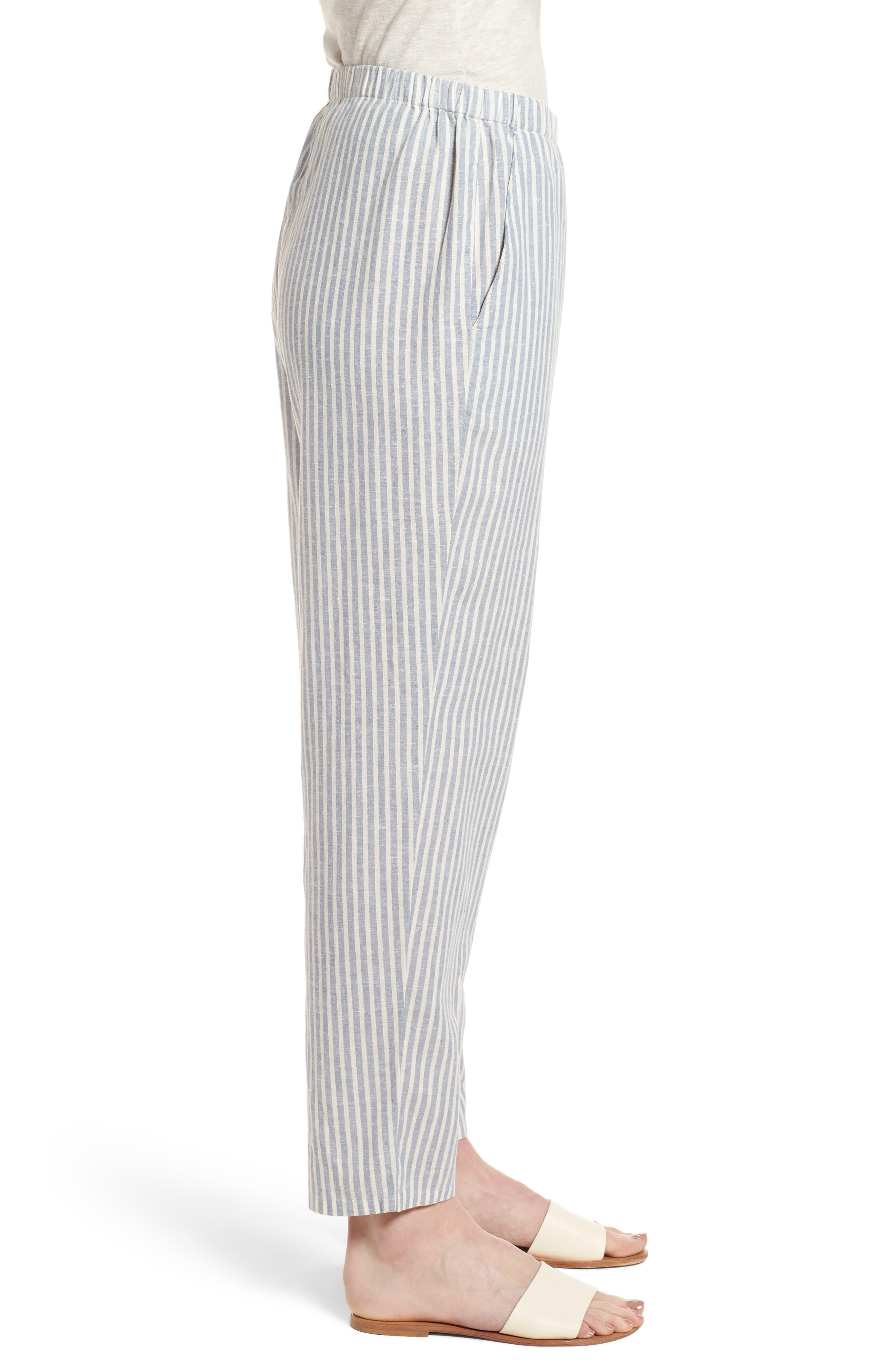 Stripe Tapered Hemp Blend Ankle Pants,                             Alternate thumbnail 3, color,                             Chambray