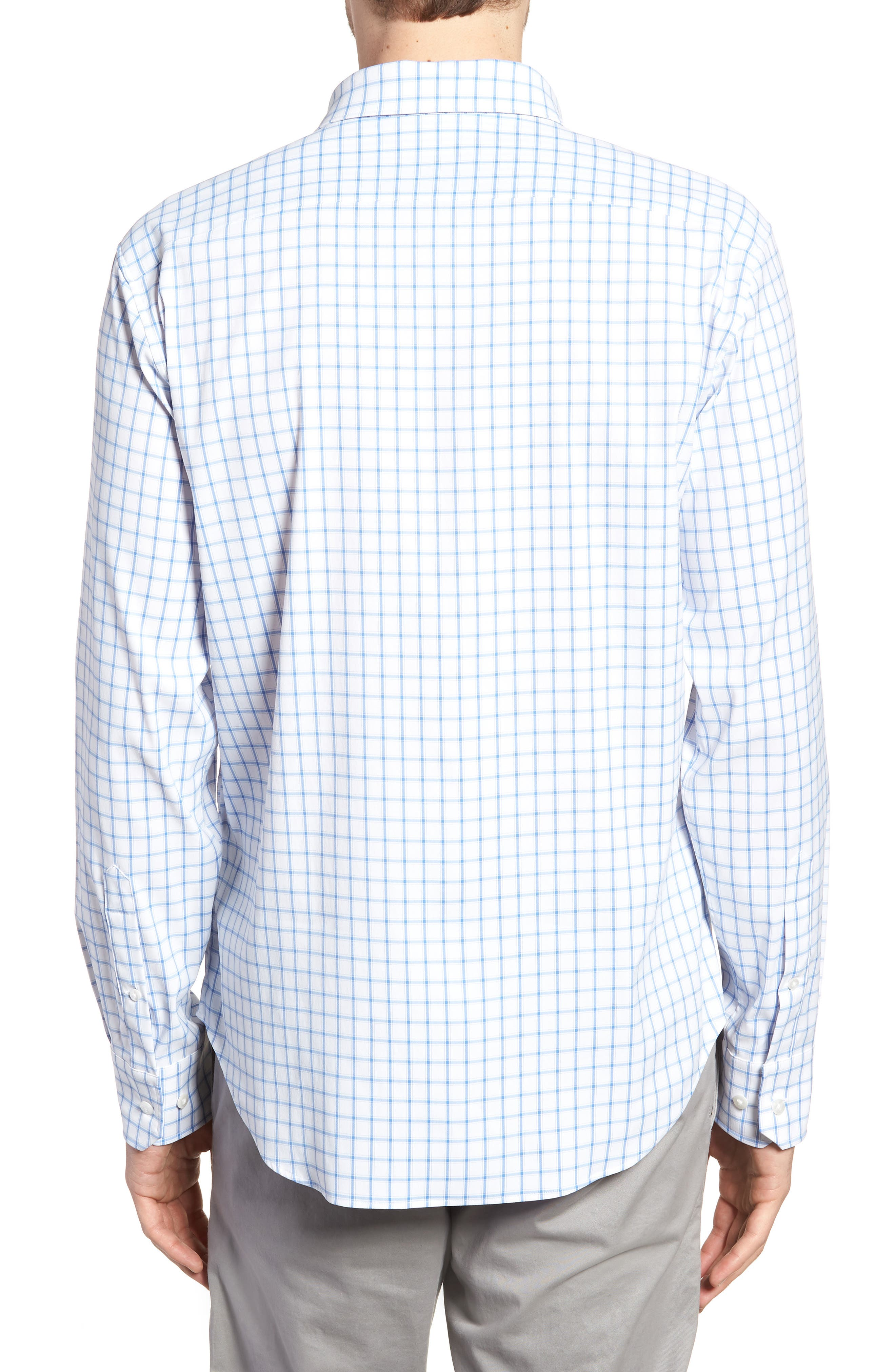 Slim Fit Check Performance Sport Shirt,                             Alternate thumbnail 3, color,                             Bray Oxford - Peony Coral