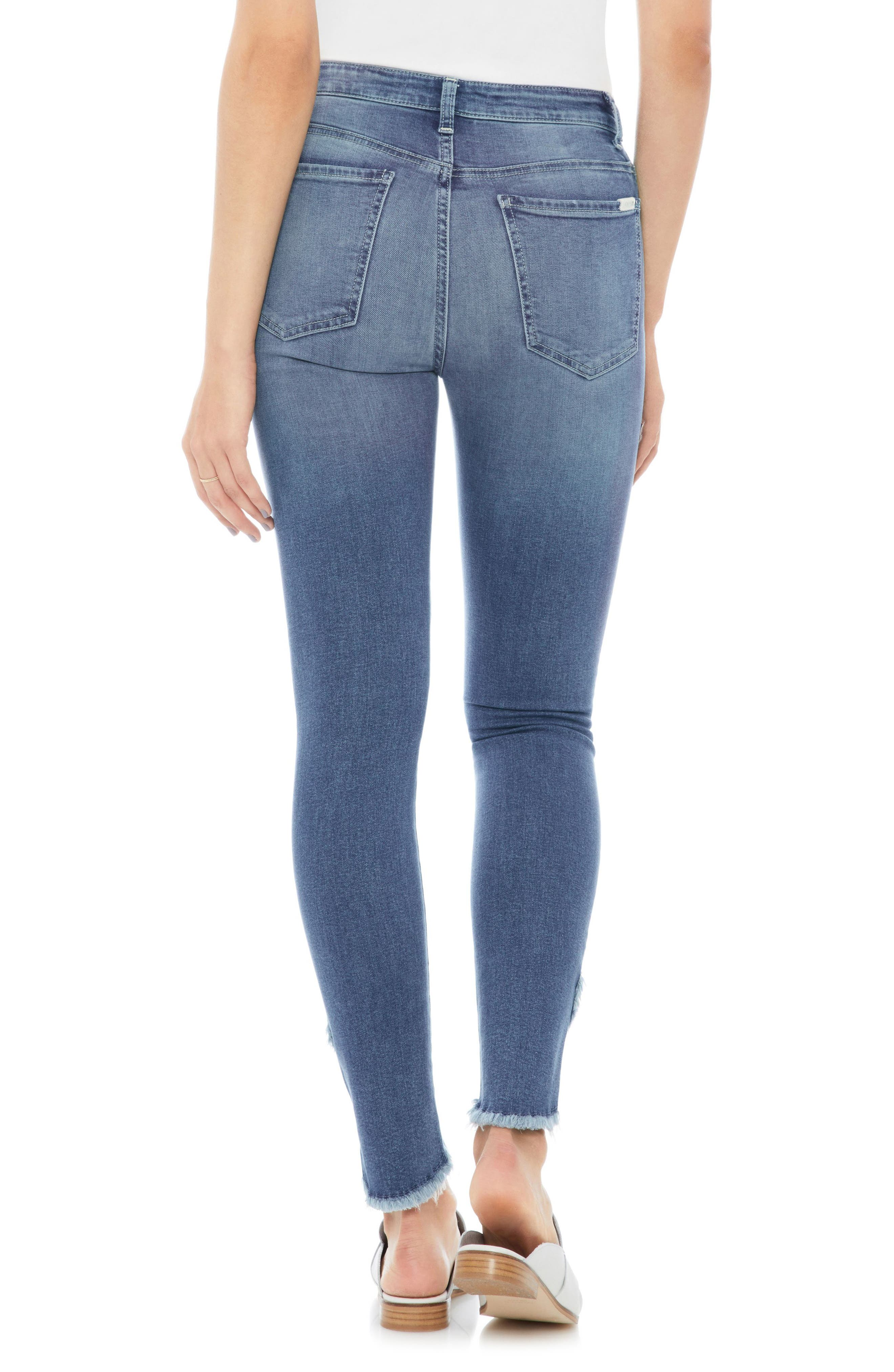Charlie High Waist Tulip Hem Ankle Skinny Jeans,                             Alternate thumbnail 2, color,                             Juliane