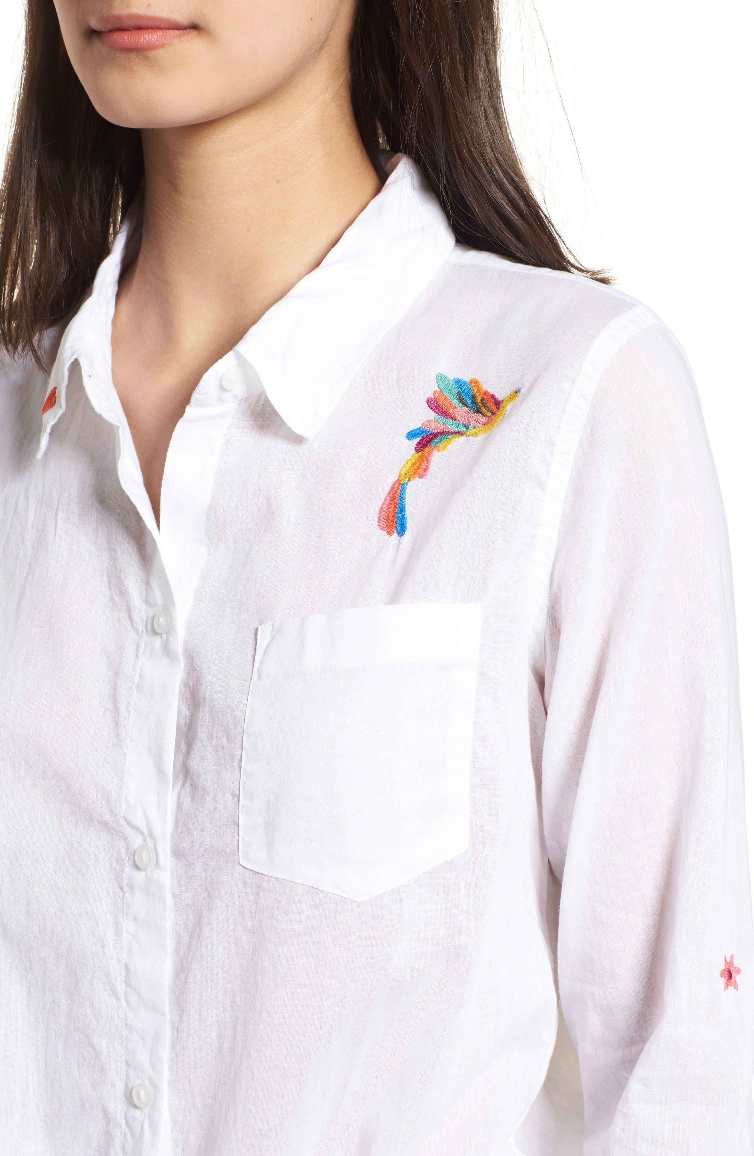 Tie Front Shirt,                             Alternate thumbnail 4, color,                             White