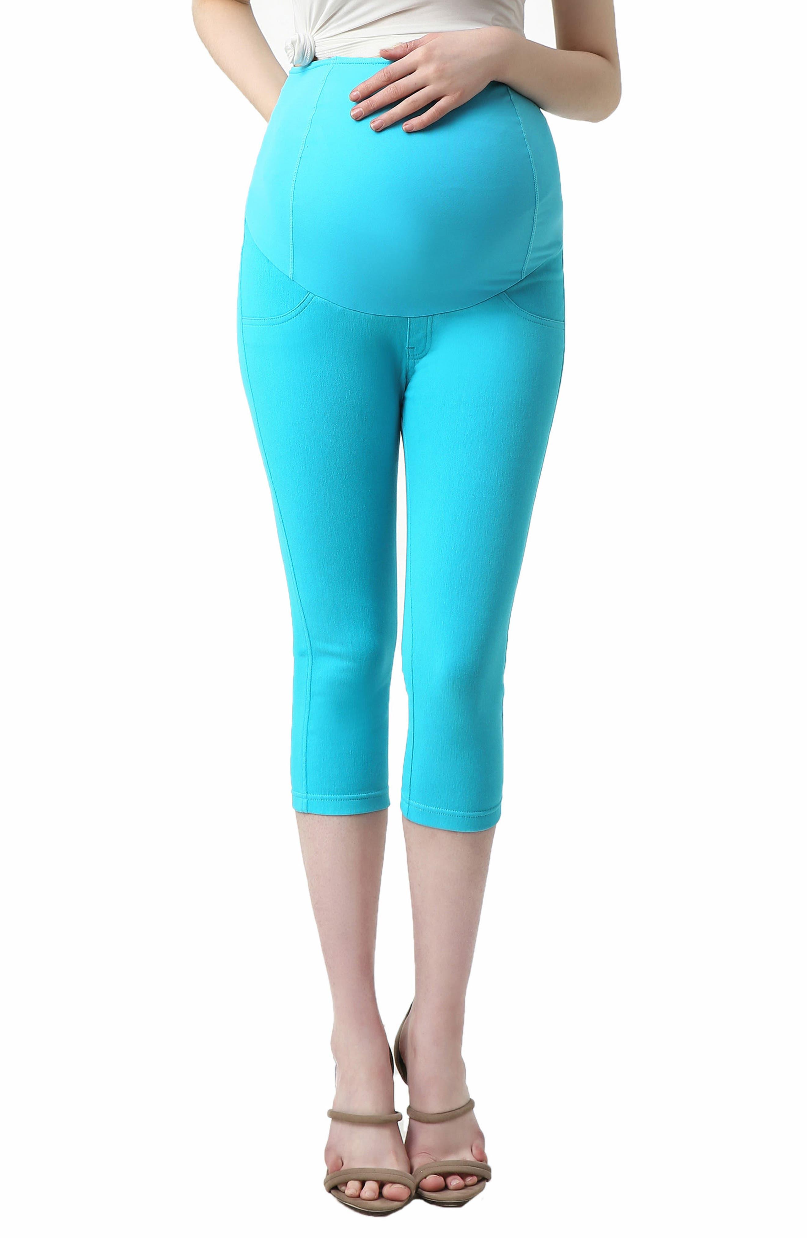 Melody Capri Denim Maternity Leggings,                         Main,                         color, Aqua Blue