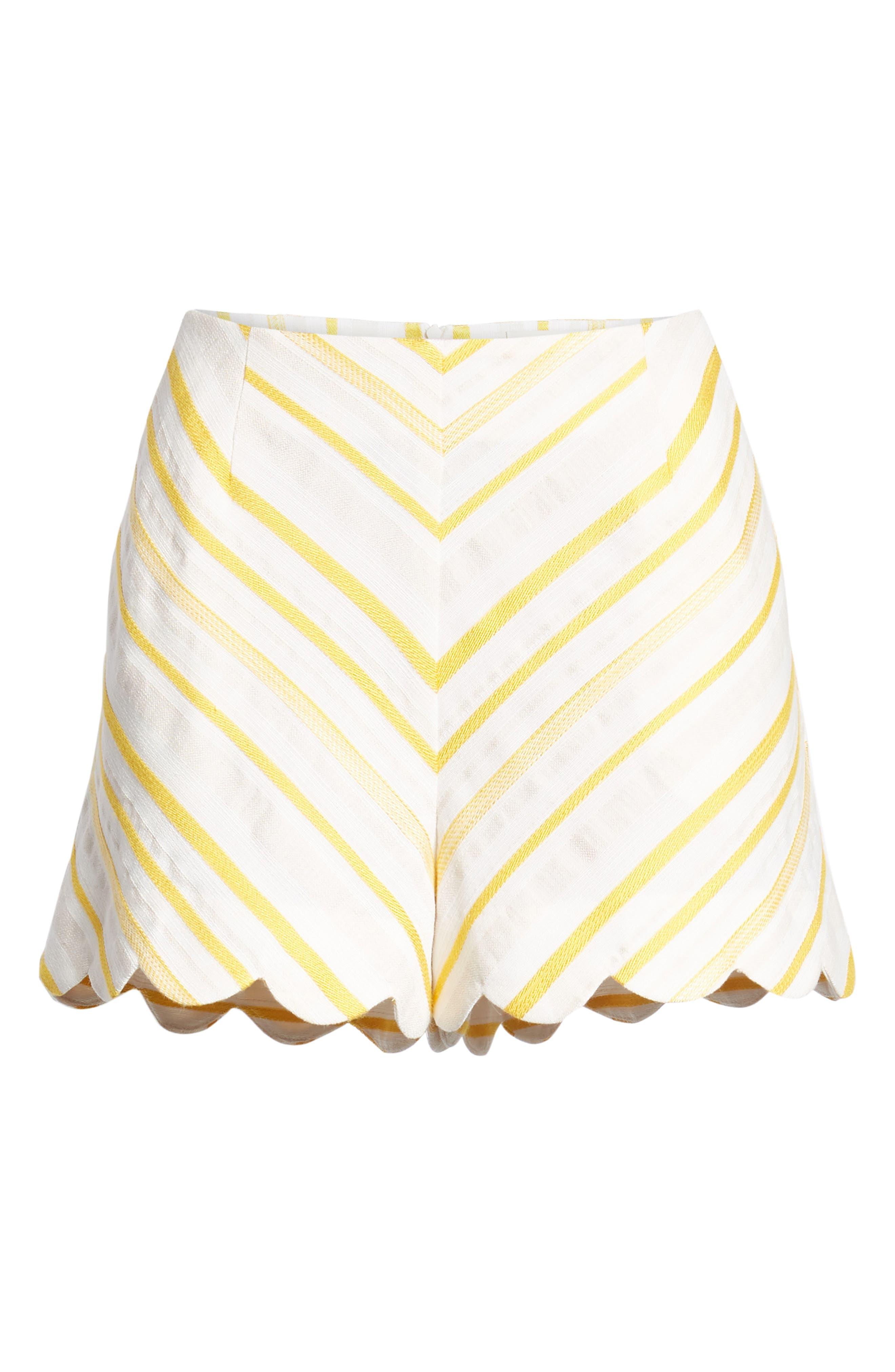 Scallop Shorts,                             Alternate thumbnail 6, color,                             Cream Yellow