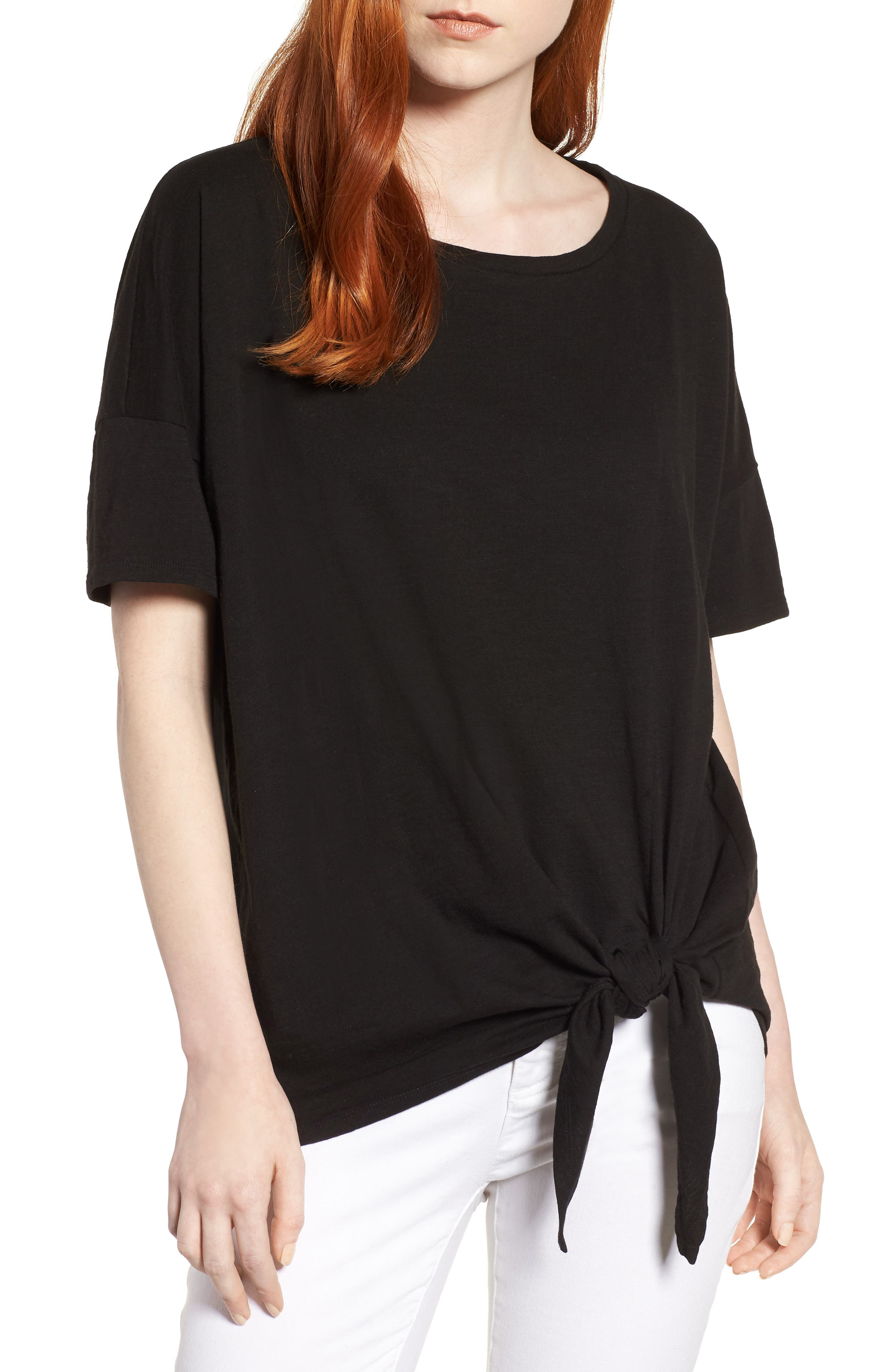 Eileen Fisher Tie Hem Organic Cotton Tee