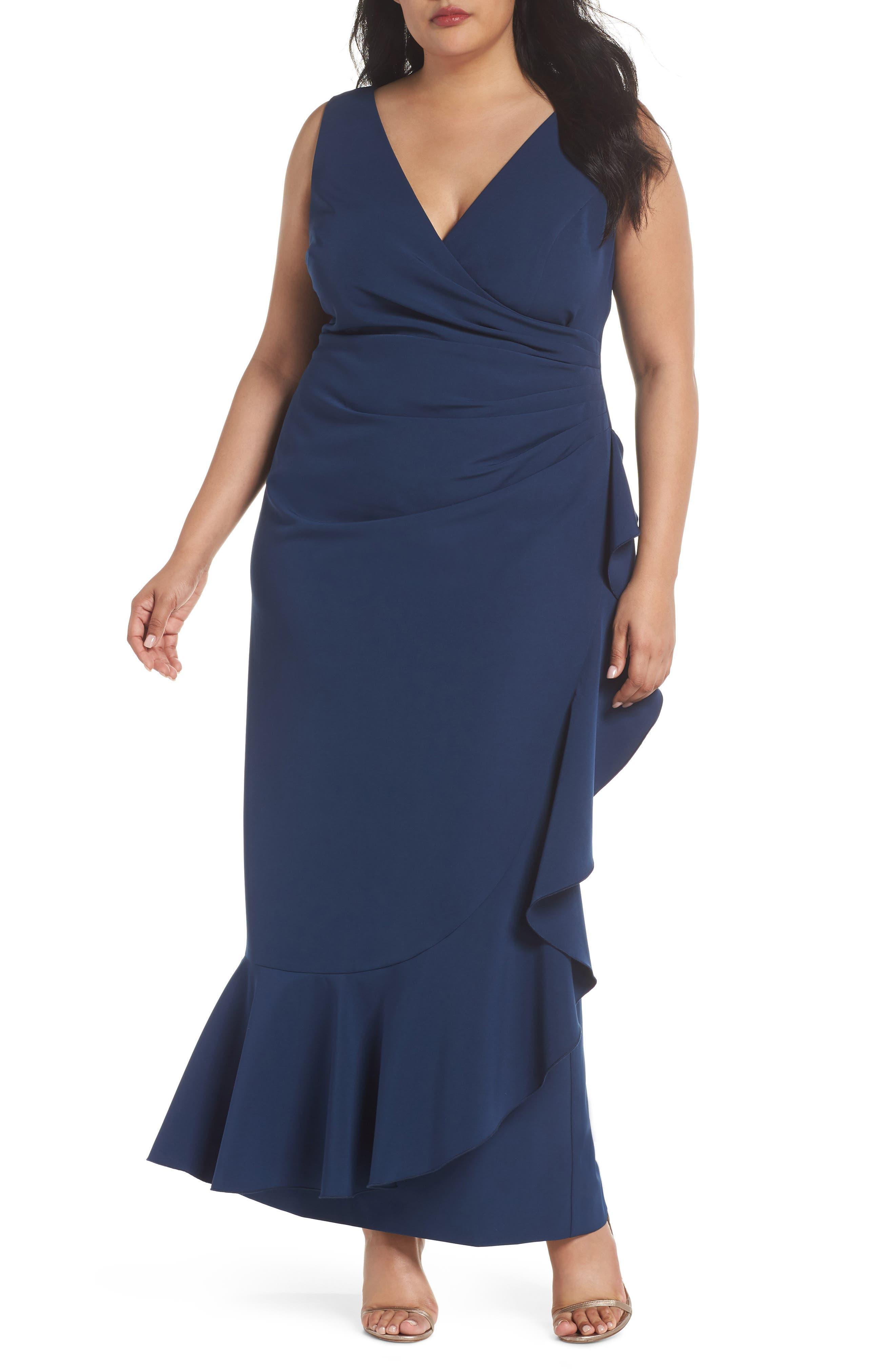 Laguna Faux Wrap Ruffle Gown,                             Main thumbnail 1, color,                             Blue
