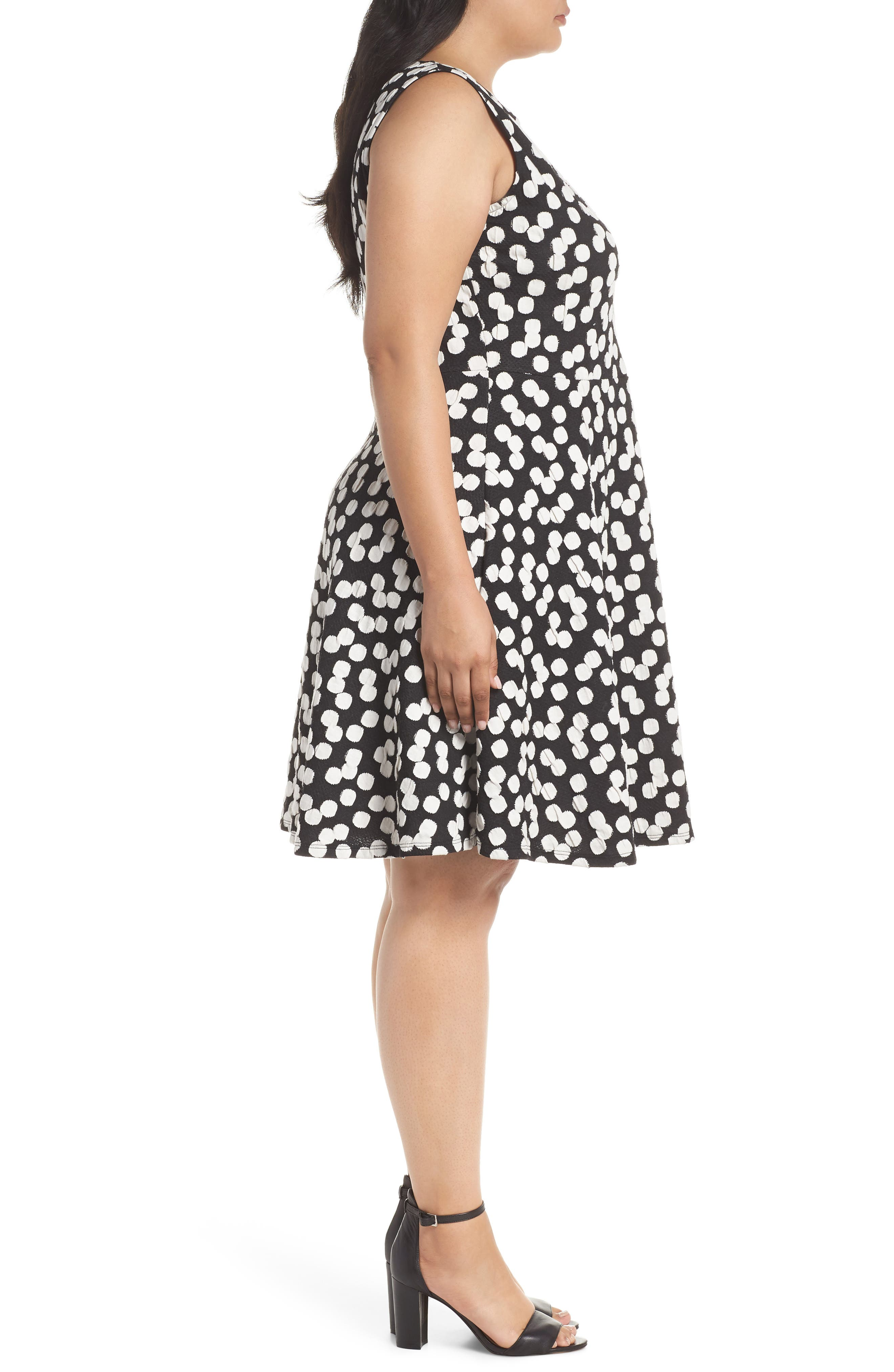 Ava Fit & Flare Dress,                             Alternate thumbnail 3, color,                             Cluster Dot