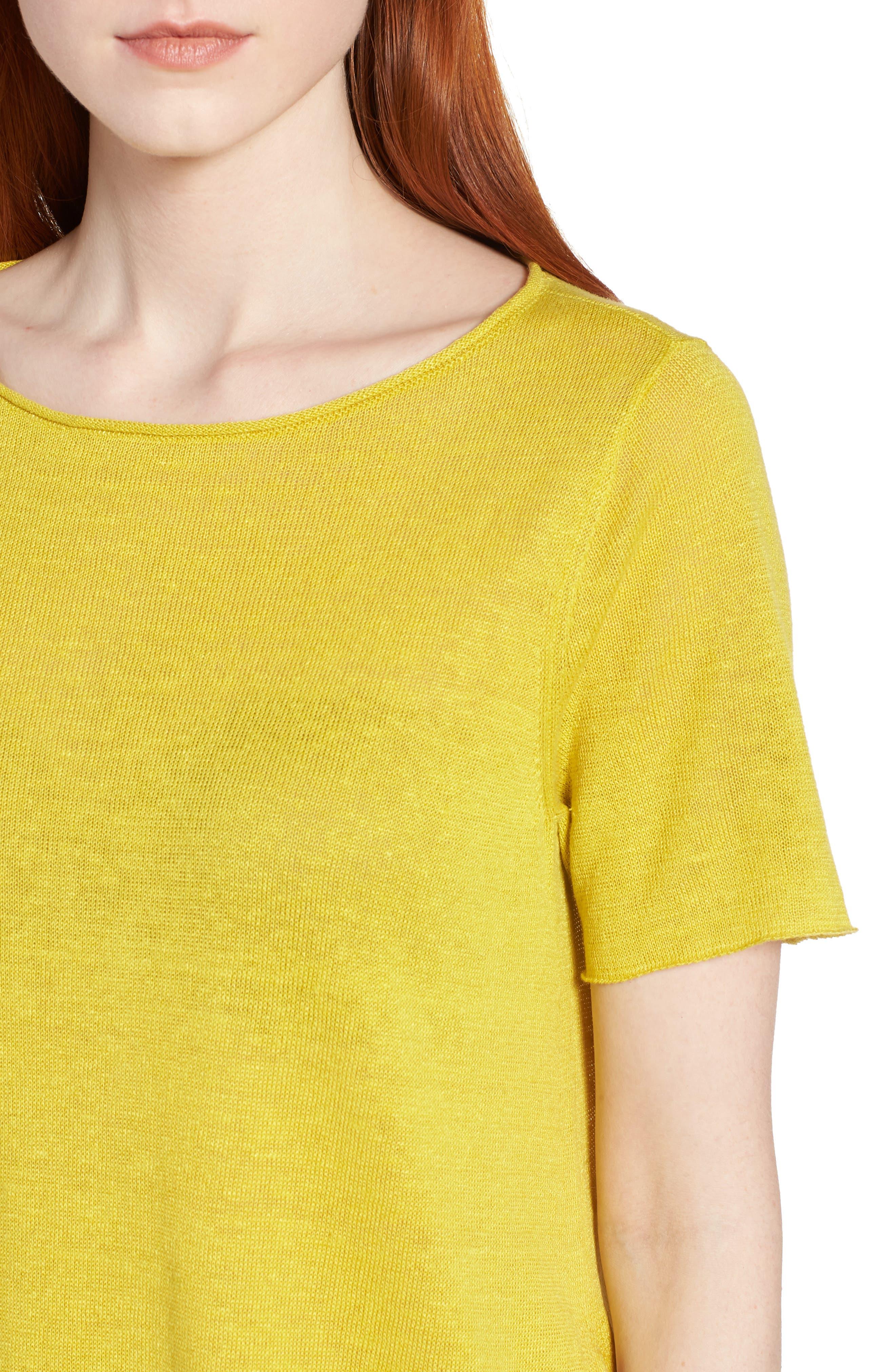 Asymmetrical Organic Linen Tunic,                             Alternate thumbnail 4, color,                             Yarrow