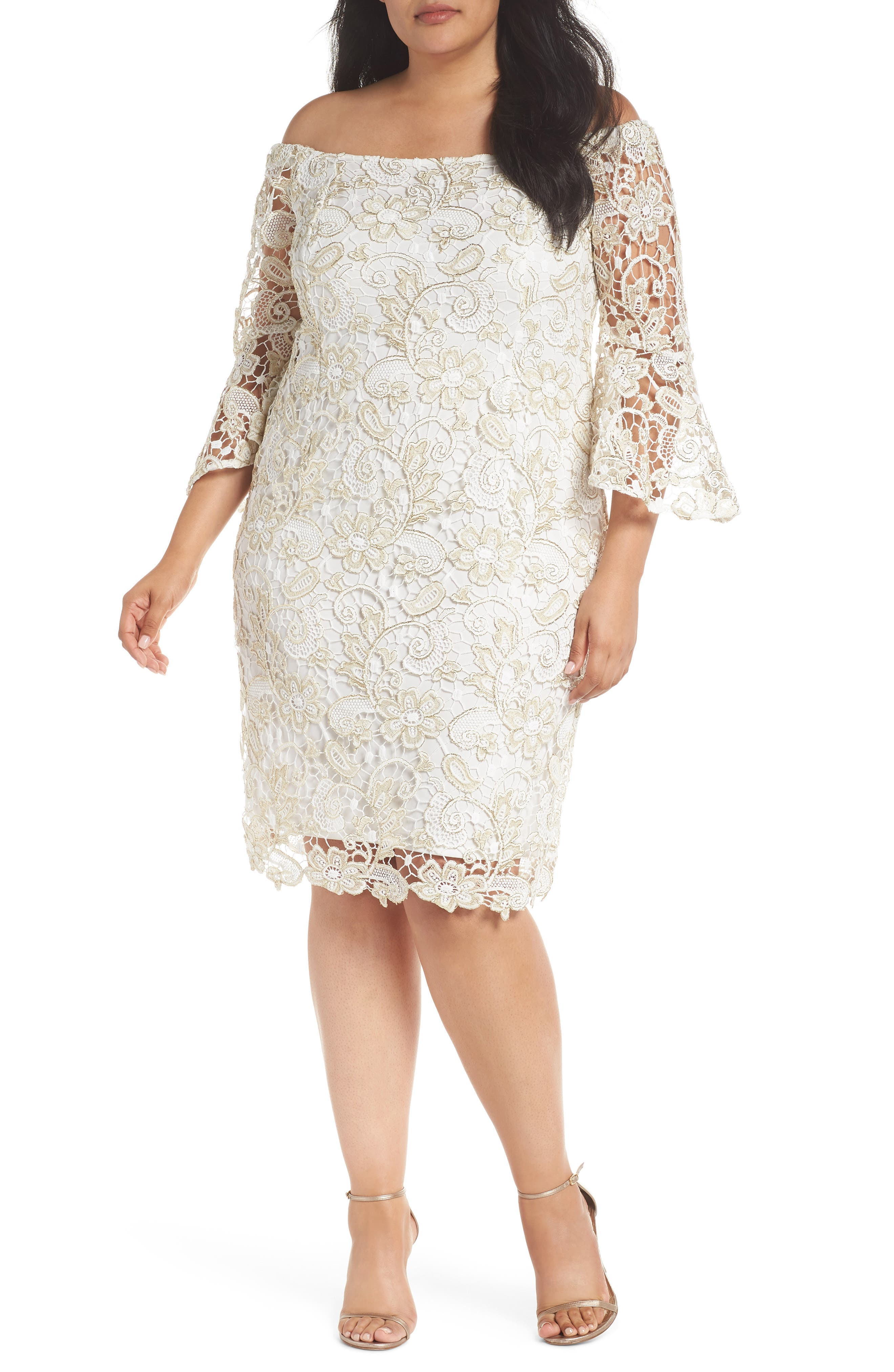 Lace Off the Shoulder Bell Sleeve Dress,                         Main,                         color, Ivory/ Gold