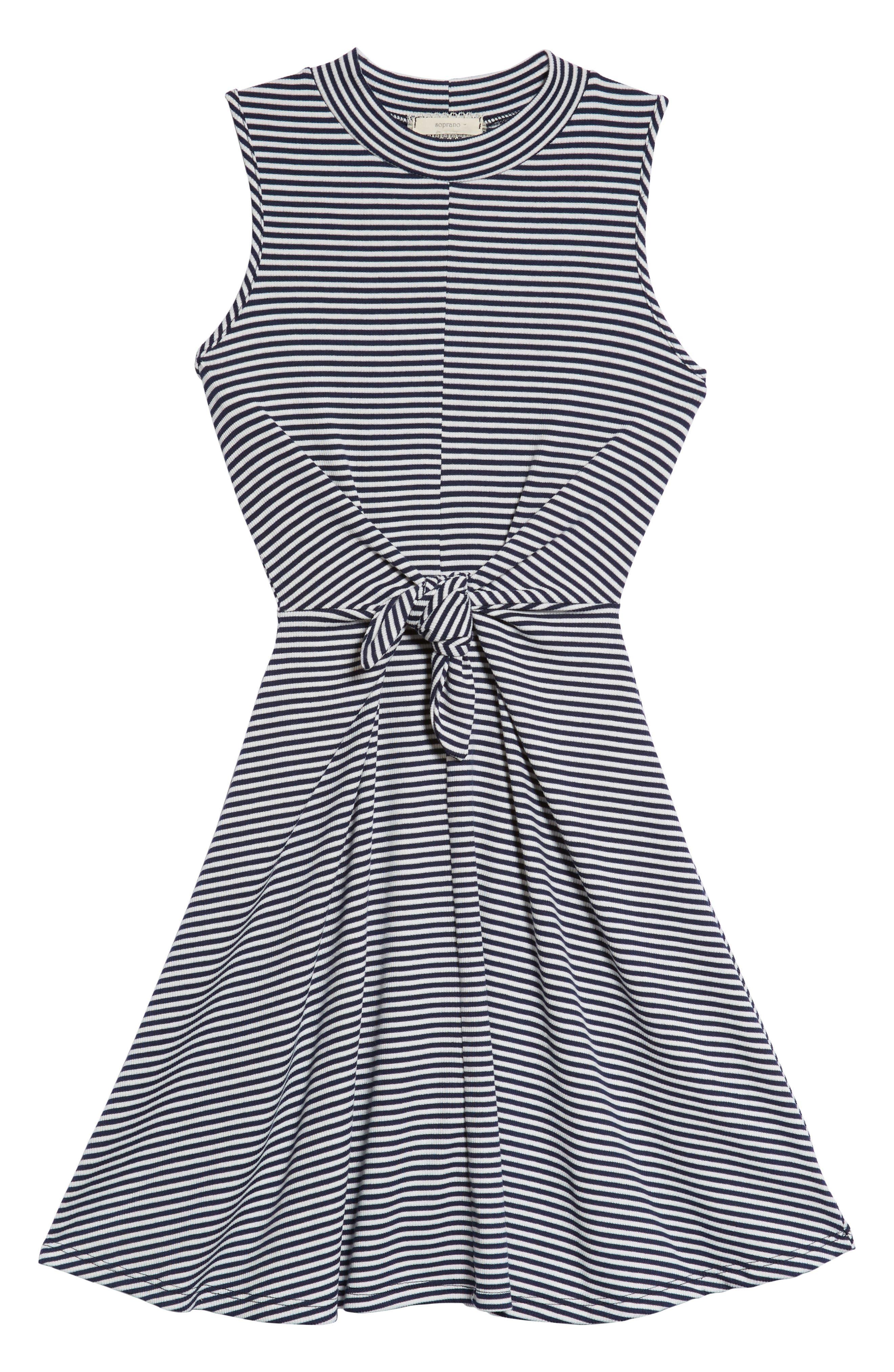 Tie Front Skater Dress,                             Main thumbnail 1, color,                             Navy/ White