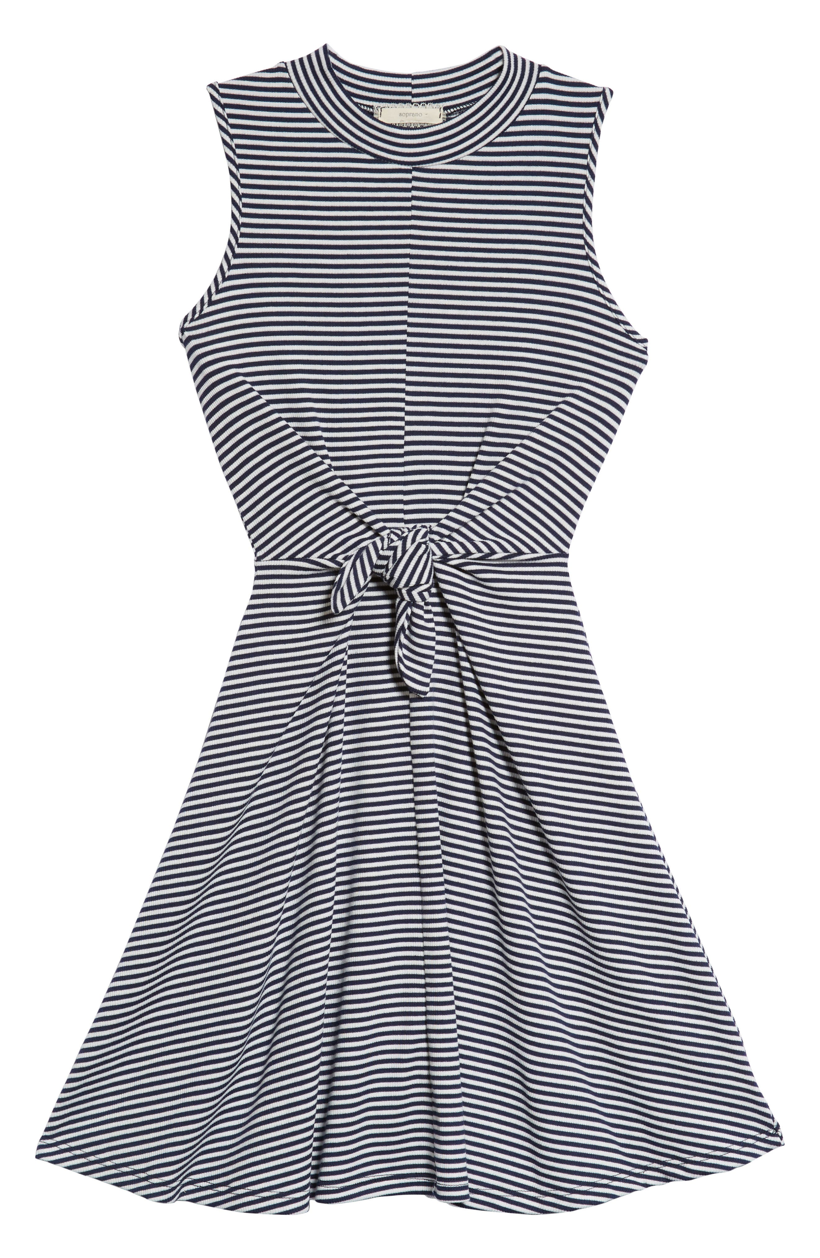 Tie Front Skater Dress,                         Main,                         color, Navy/ White