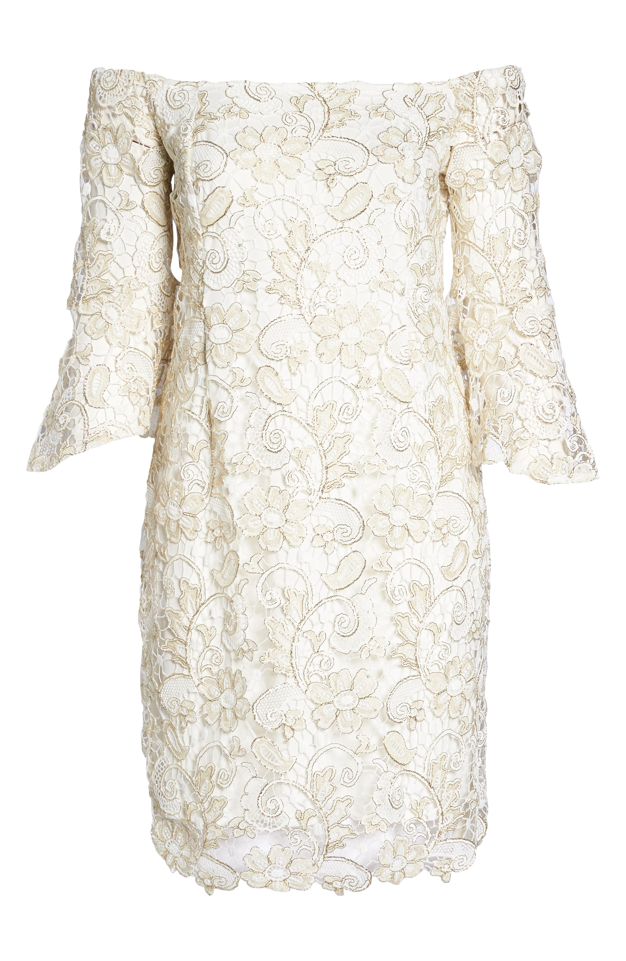 Alternate Image 6  - Marina Lace Off the Shoulder Bell Sleeve Dress (Plus Size)