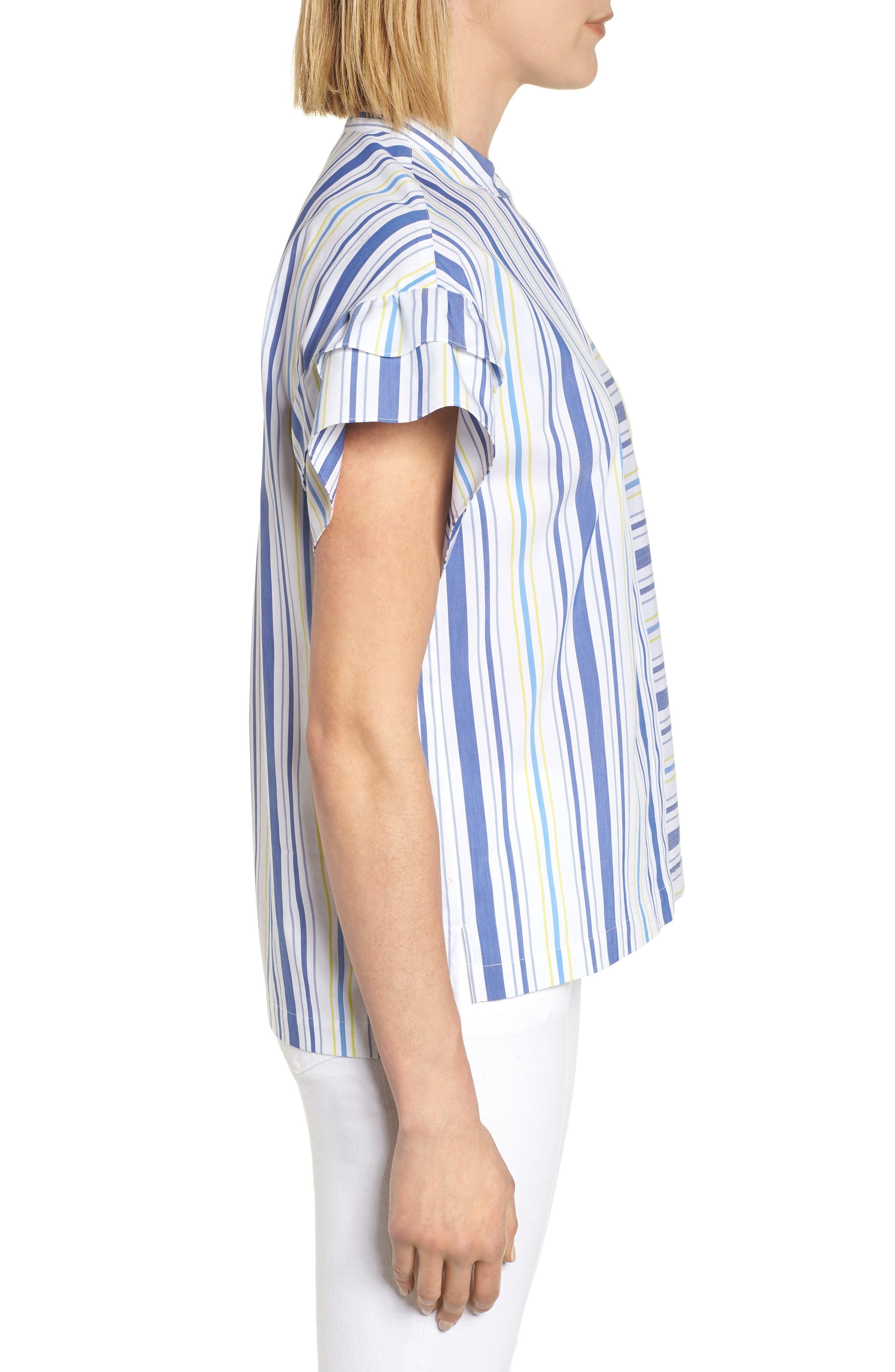 Ruffle Sleeve Stretch Cotton Blend Blouse,                             Alternate thumbnail 3, color,                             White Multi Stripe