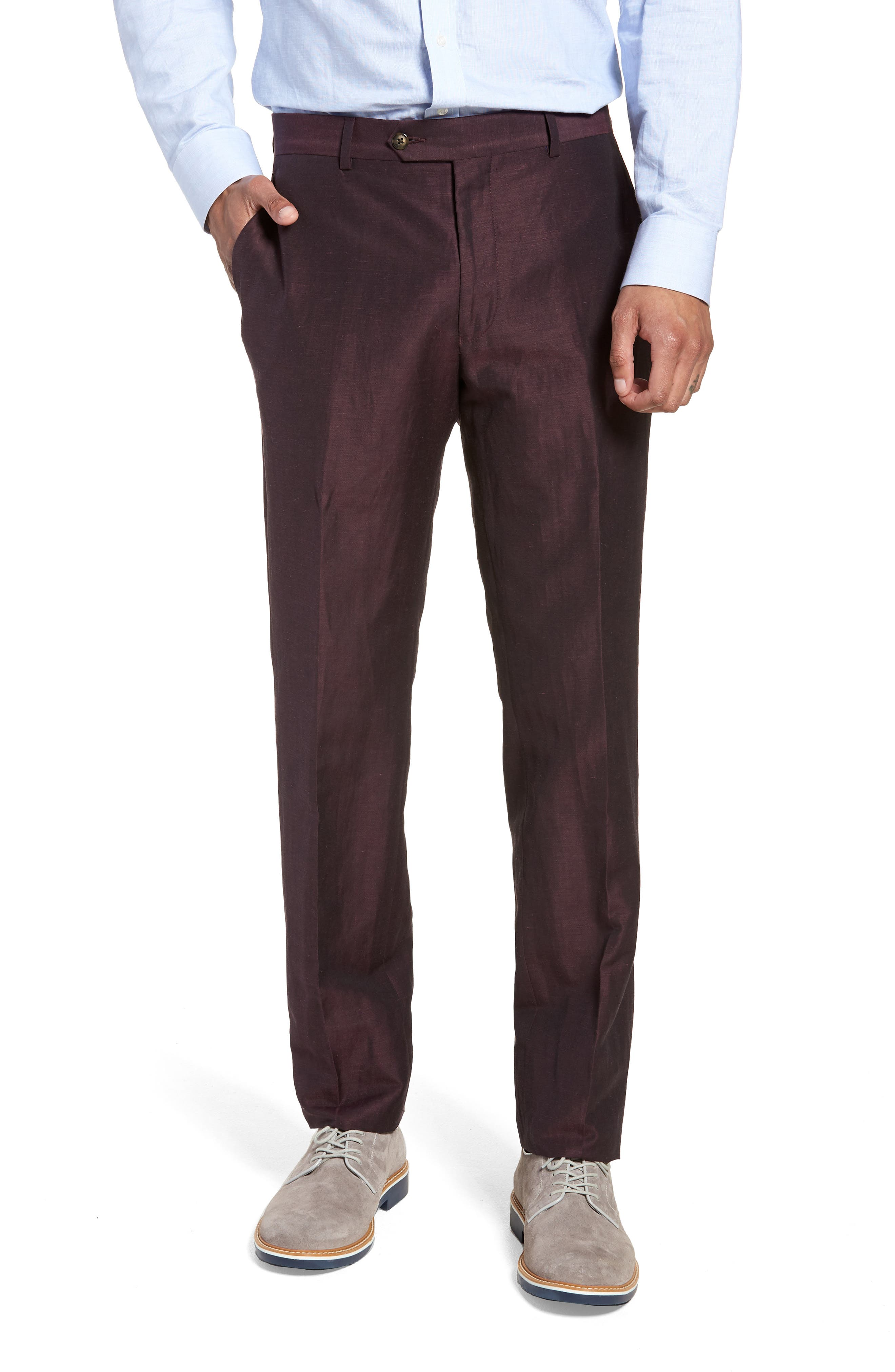 Dagger Flat Front Solid Wool & Linen Trousers,                         Main,                         color, Plum
