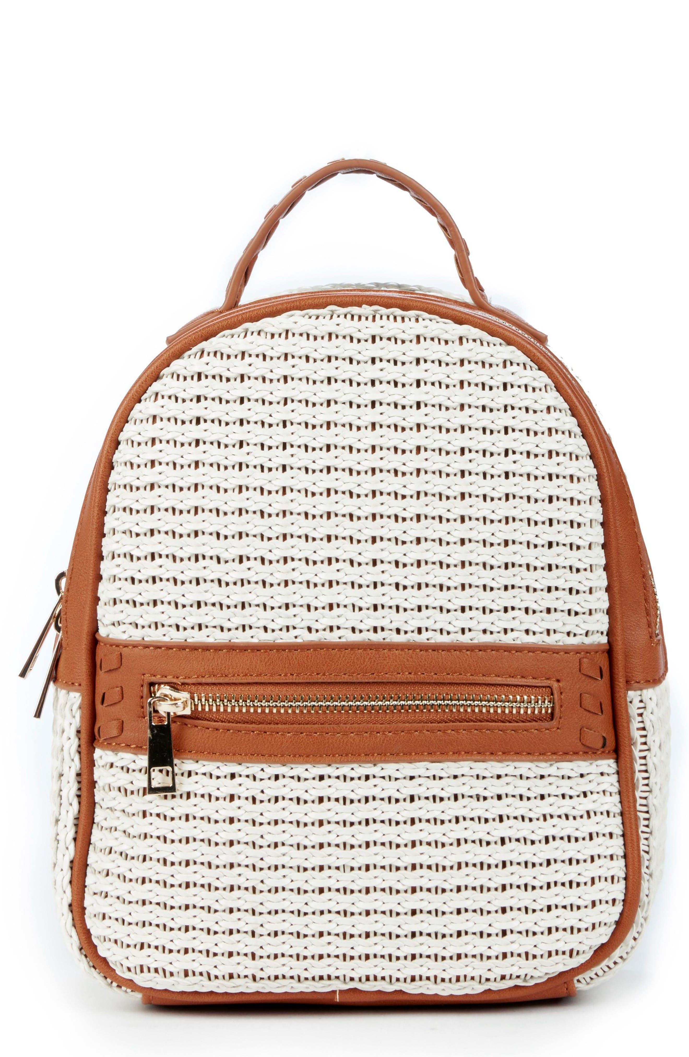 Nikole Faux Leather Backpack,                             Main thumbnail 1, color,                             Camel