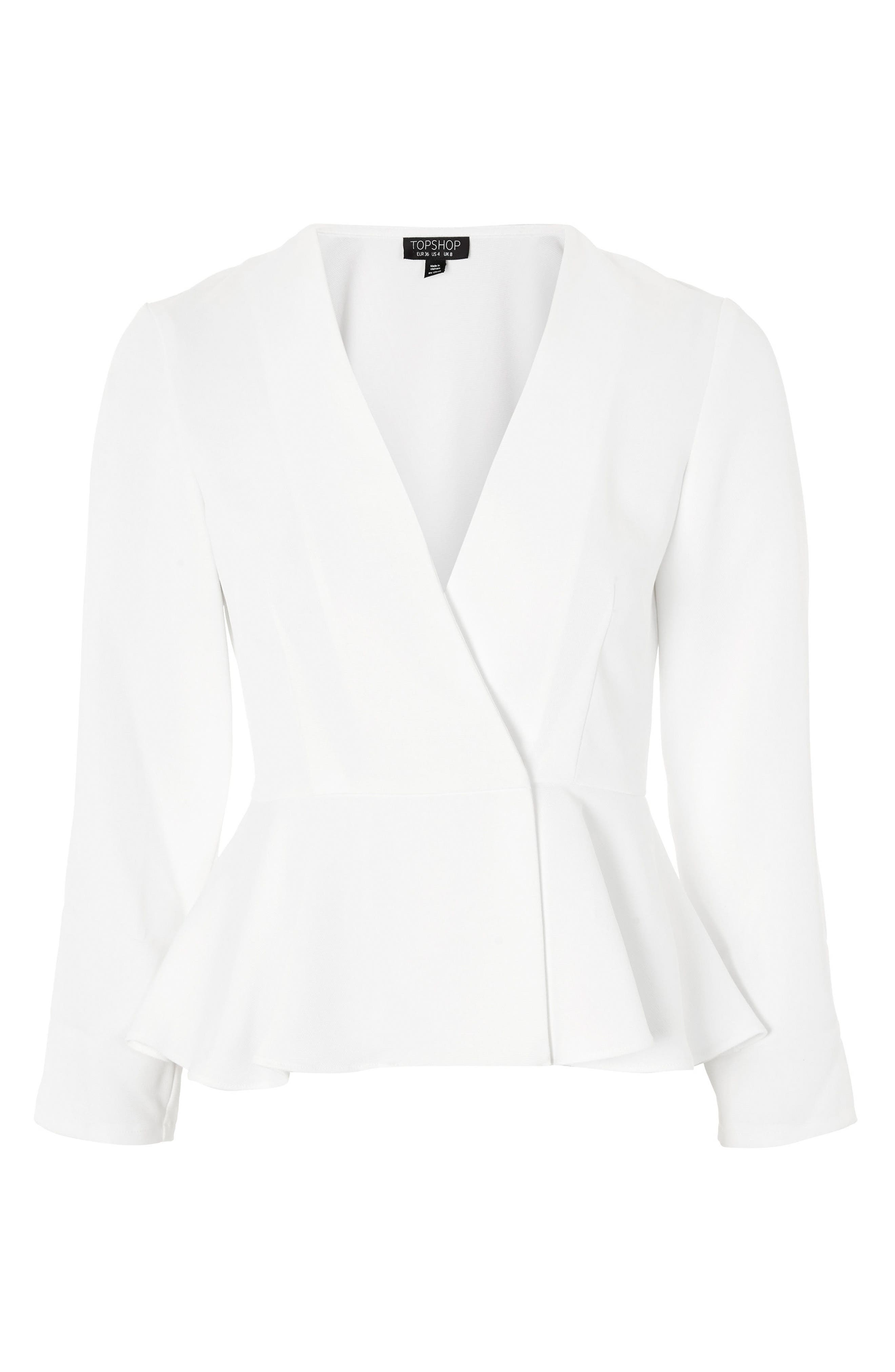 Crossover Peplum Jacket,                             Alternate thumbnail 4, color,                             Ivory