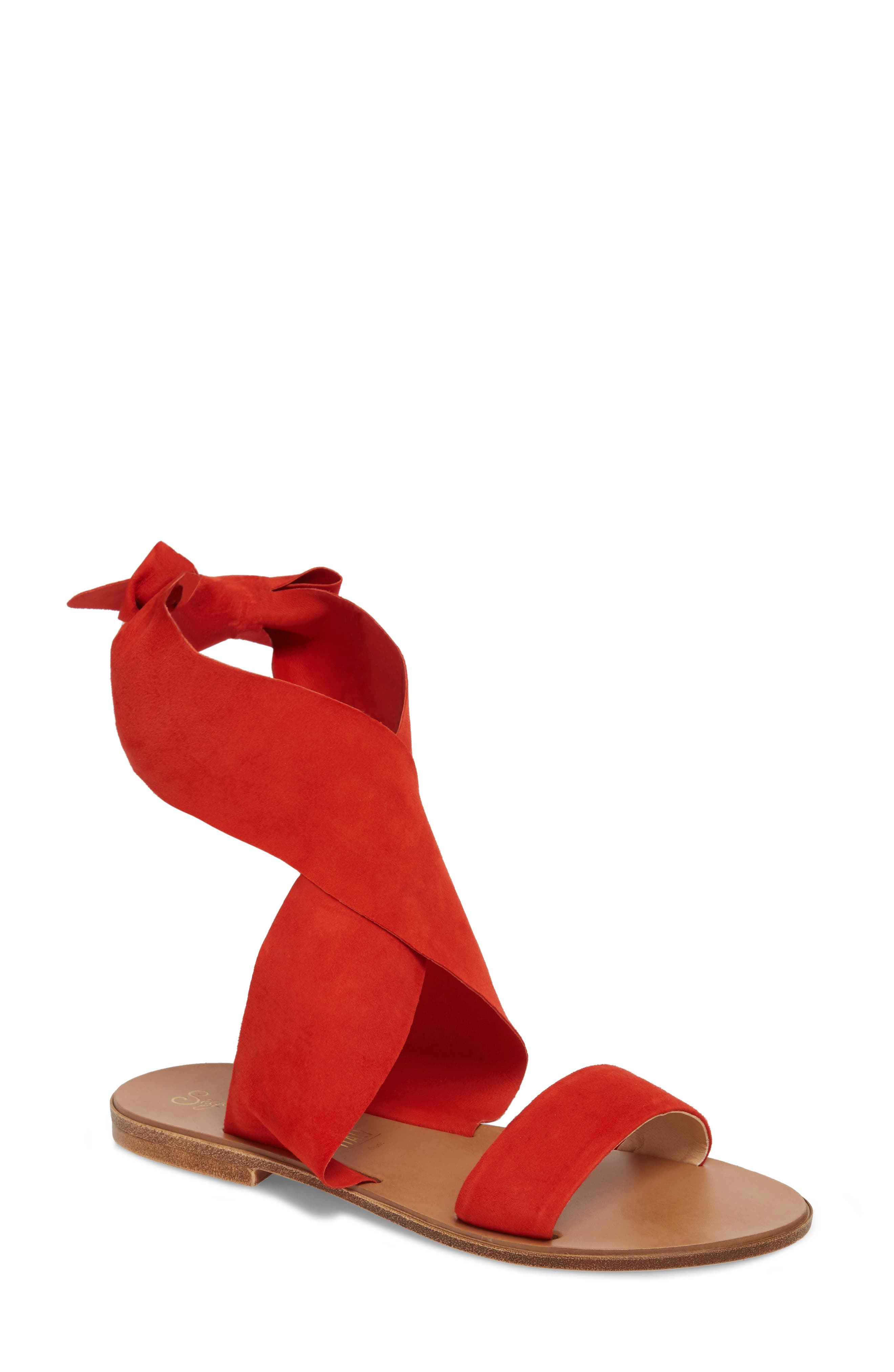 Cruisin Ankle Wrap Sandal,                             Main thumbnail 1, color,                             Red Suede
