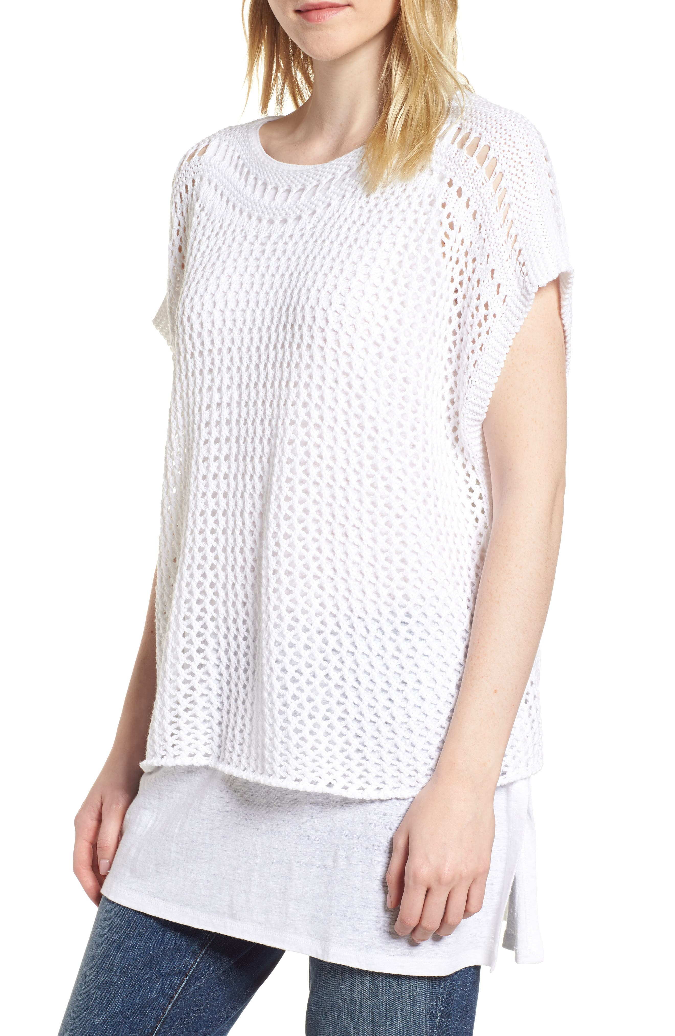 Organic Cotton Sweater,                             Main thumbnail 1, color,                             White