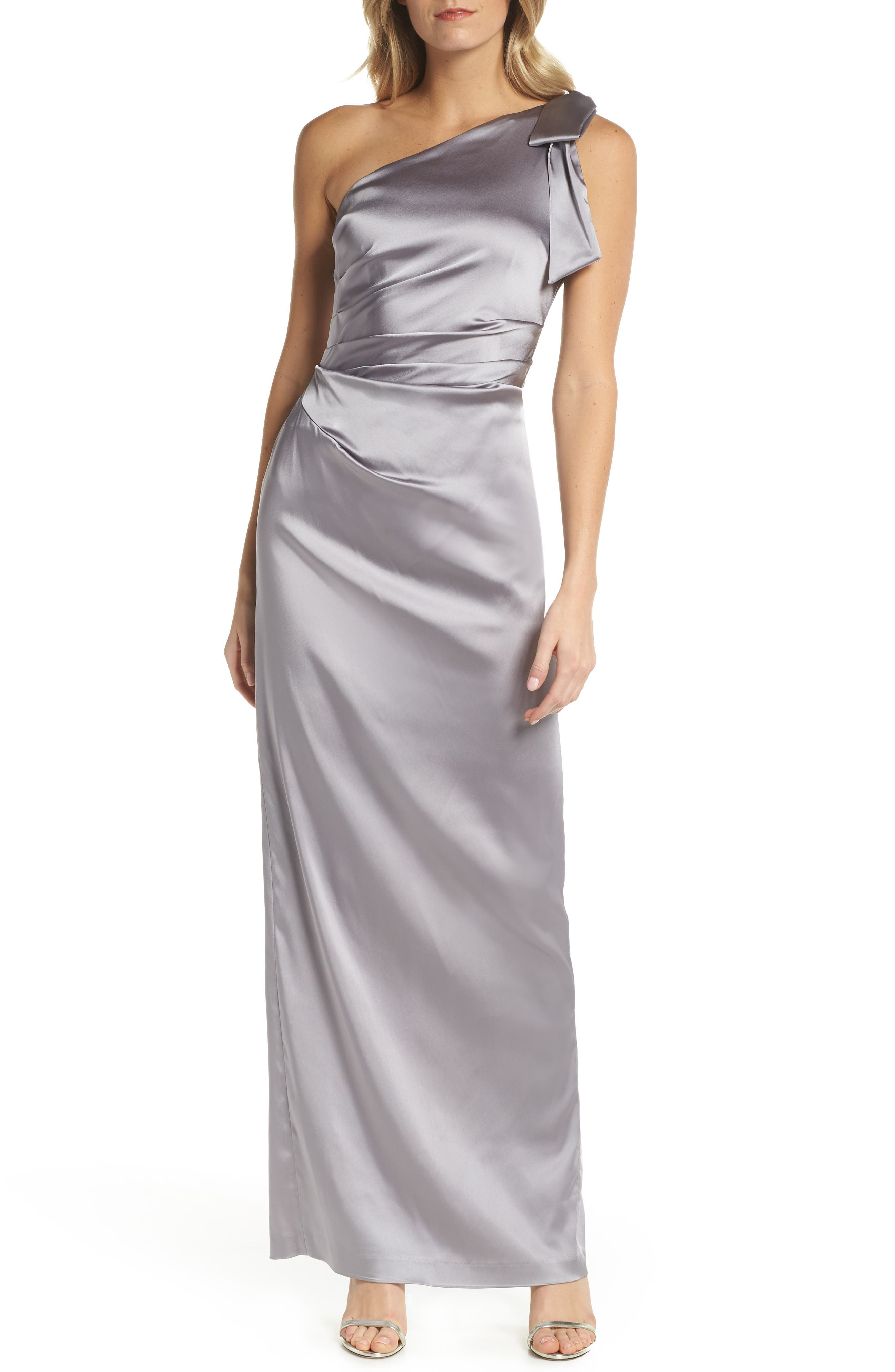 One-Shoulder Stretch Satin Gown,                             Main thumbnail 1, color,                             Silver