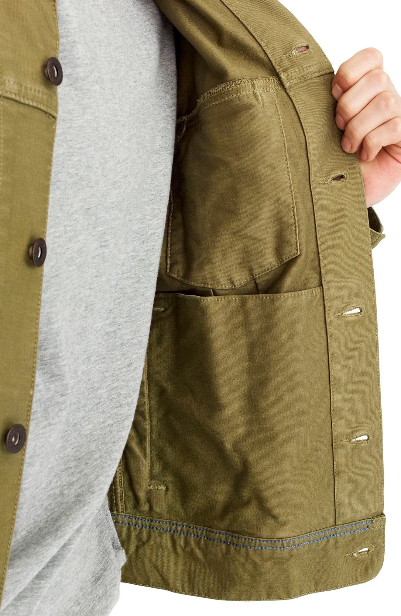 Garment Dyed Bedford Cord Trucker Jacket,                             Alternate thumbnail 3, color,                             Sun Faded Olive