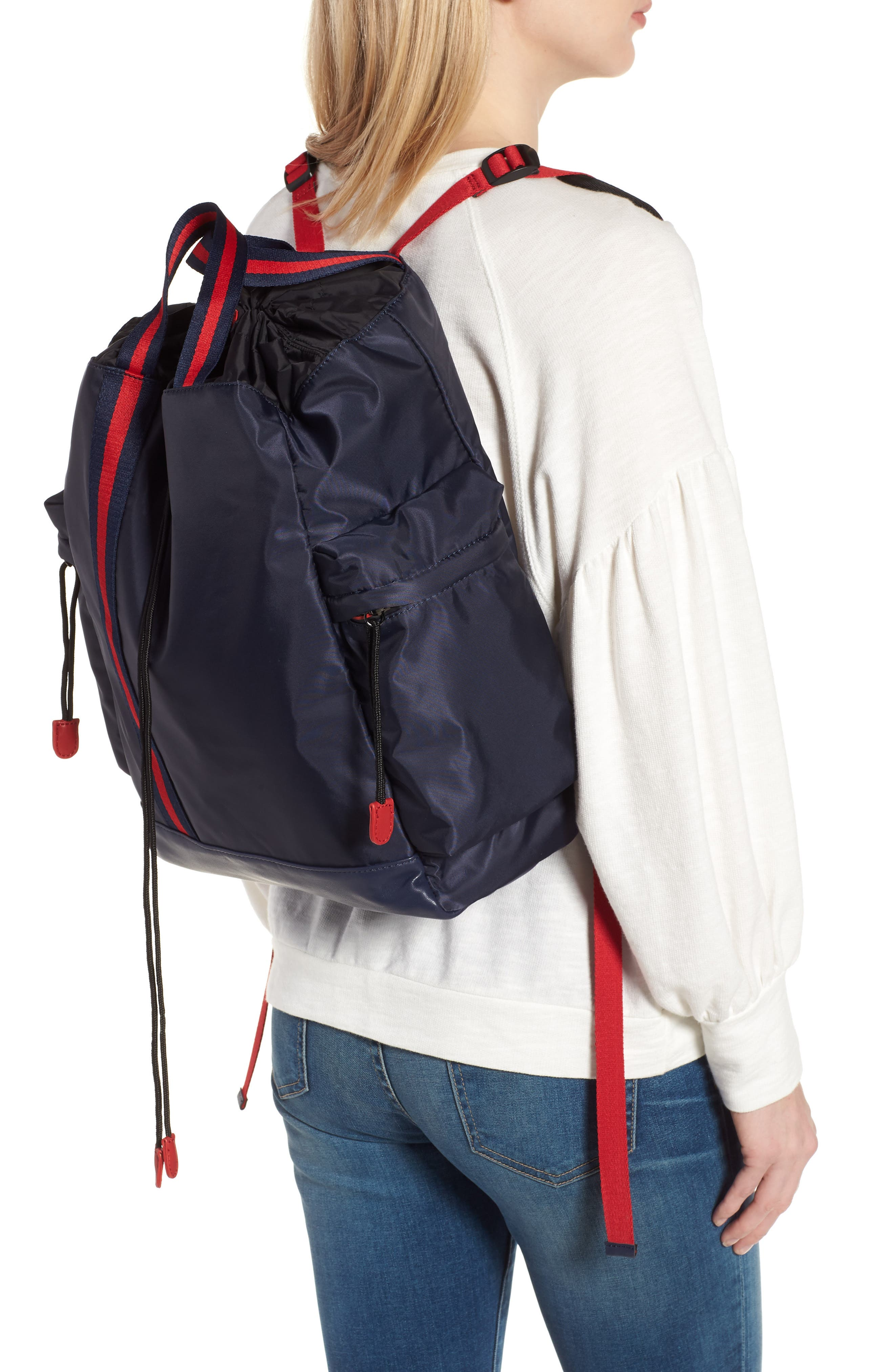 Yungg Stripe Strap Backpack,                             Alternate thumbnail 2, color,                             Navy/ Red