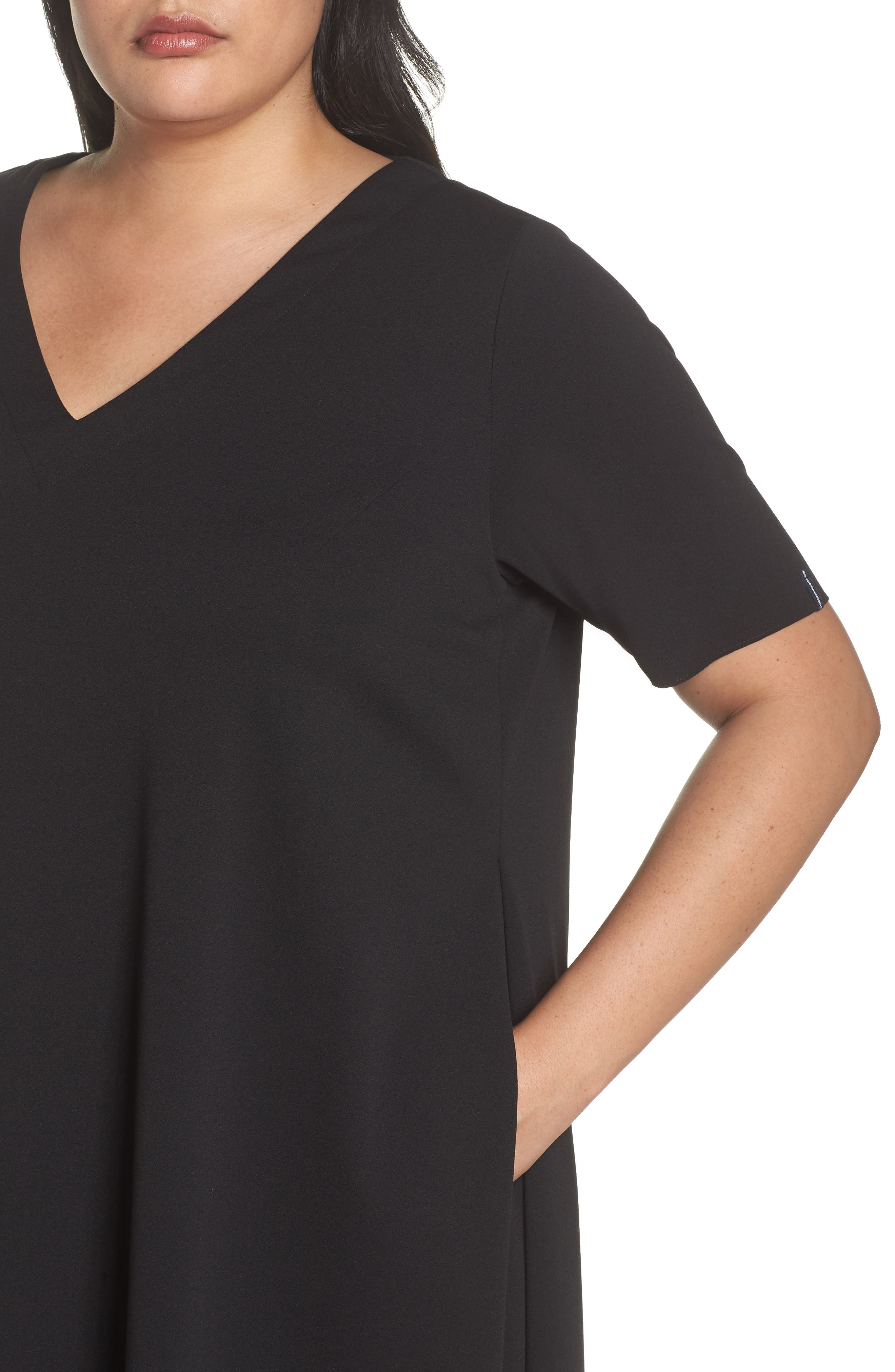 Short Sleeve Knit Dress,                             Alternate thumbnail 4, color,                             Black