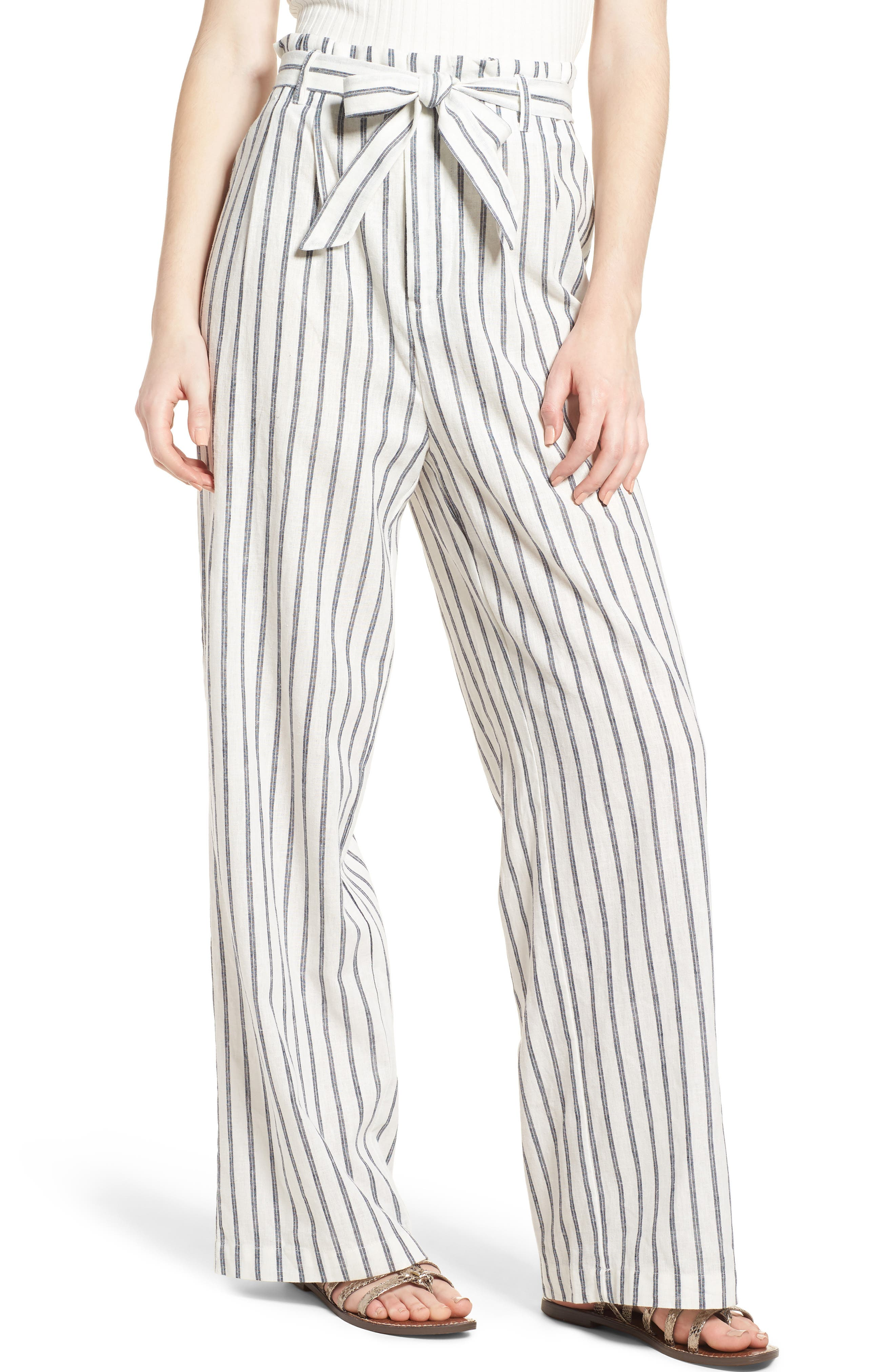 Paper Bag Linen & Cotton Pants,                             Main thumbnail 1, color,                             Ivory / Blue Stripe
