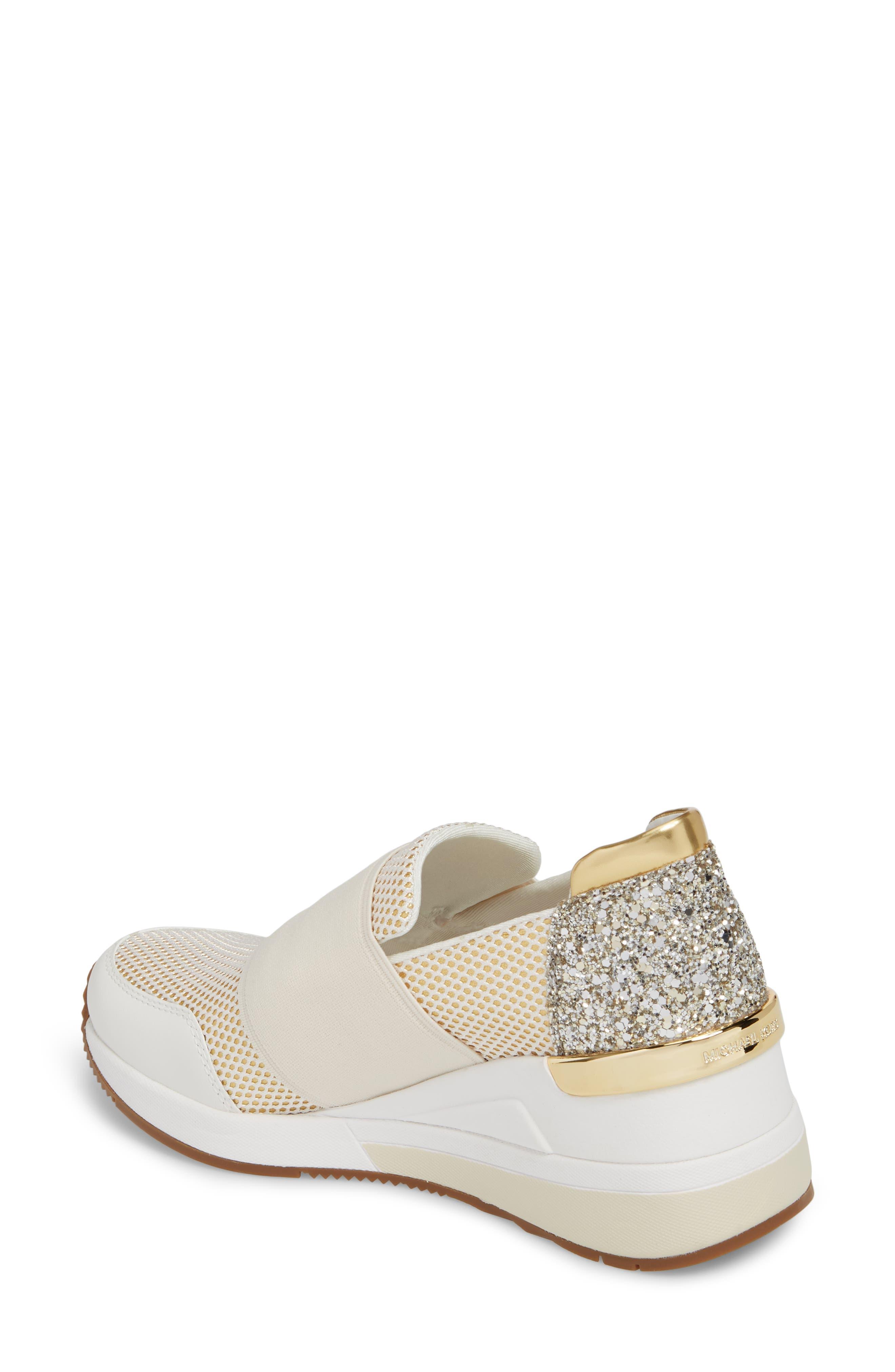Felix Slip-On Glitter Sneaker,                             Alternate thumbnail 2, color,                             Gold
