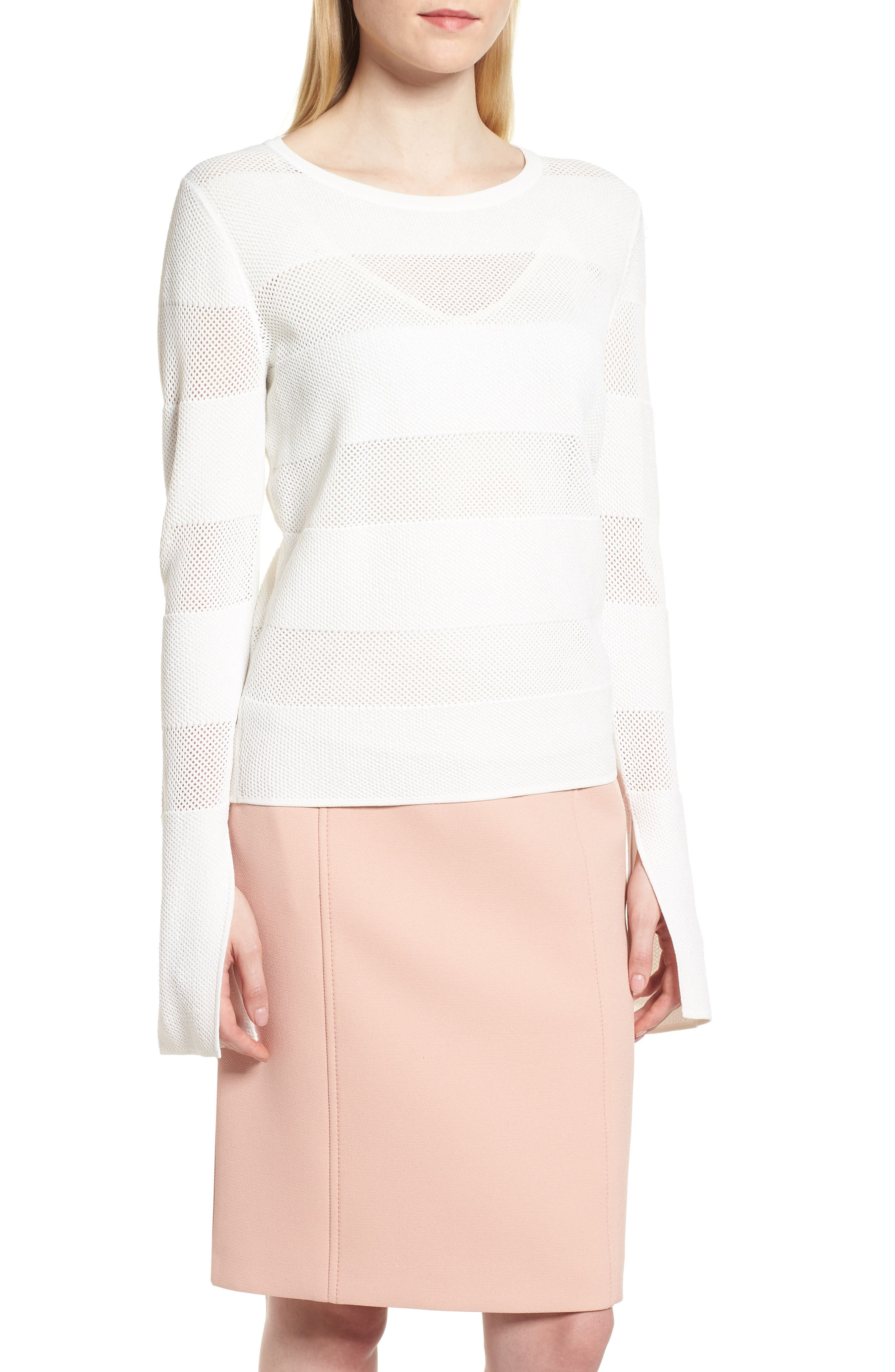 Frangy Mesh Stripe Sweater,                         Main,                         color, Vanilla Light