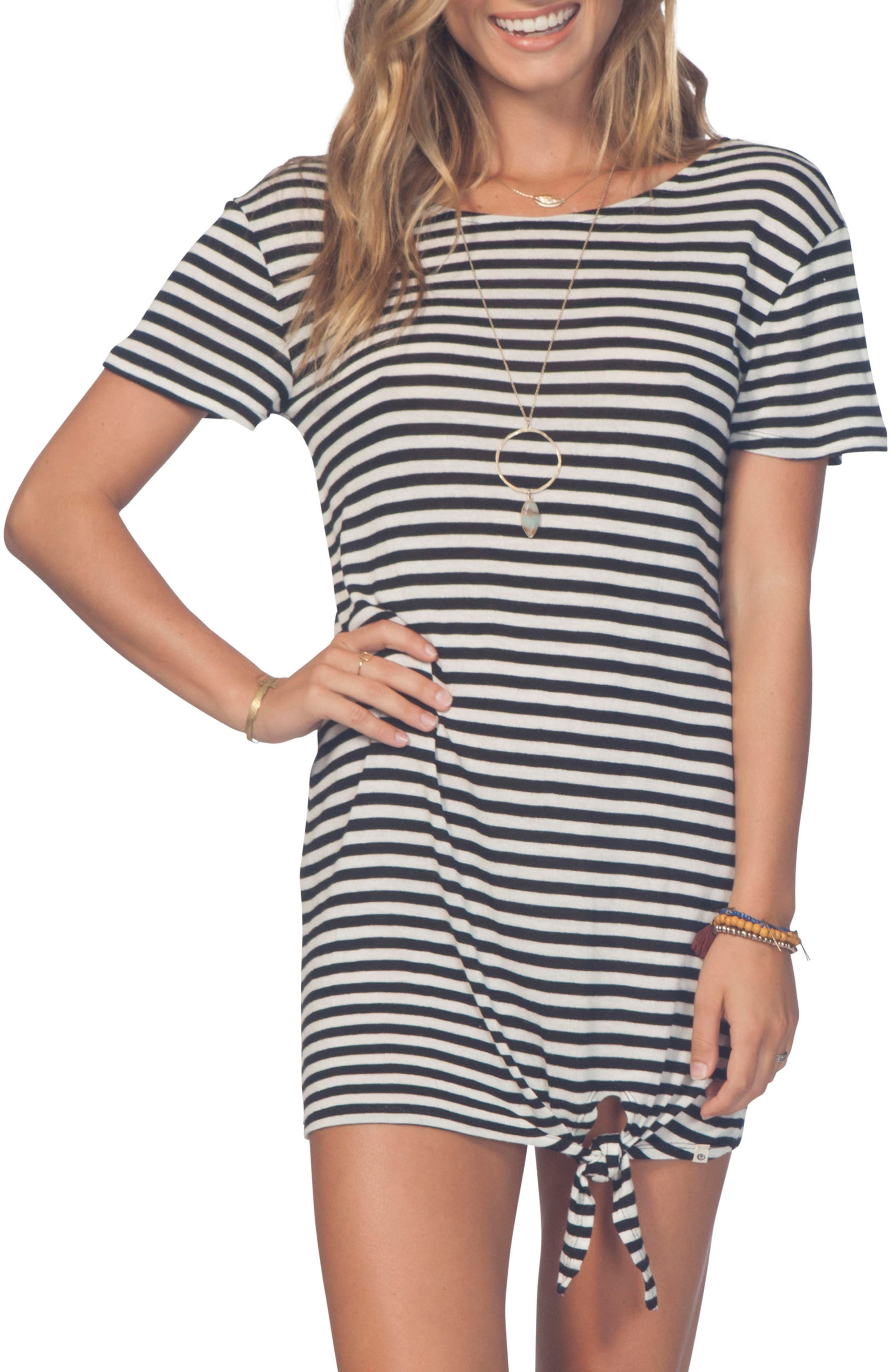 Premium Surf T-Shirt Dress,                             Main thumbnail 1, color,                             Black/ White