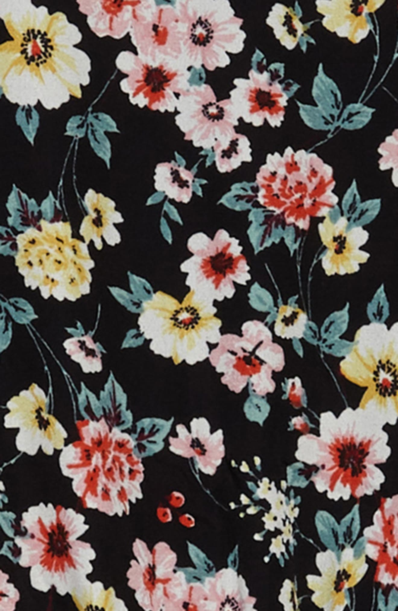 Floral Print Romper,                             Alternate thumbnail 2, color,                             Black Multi