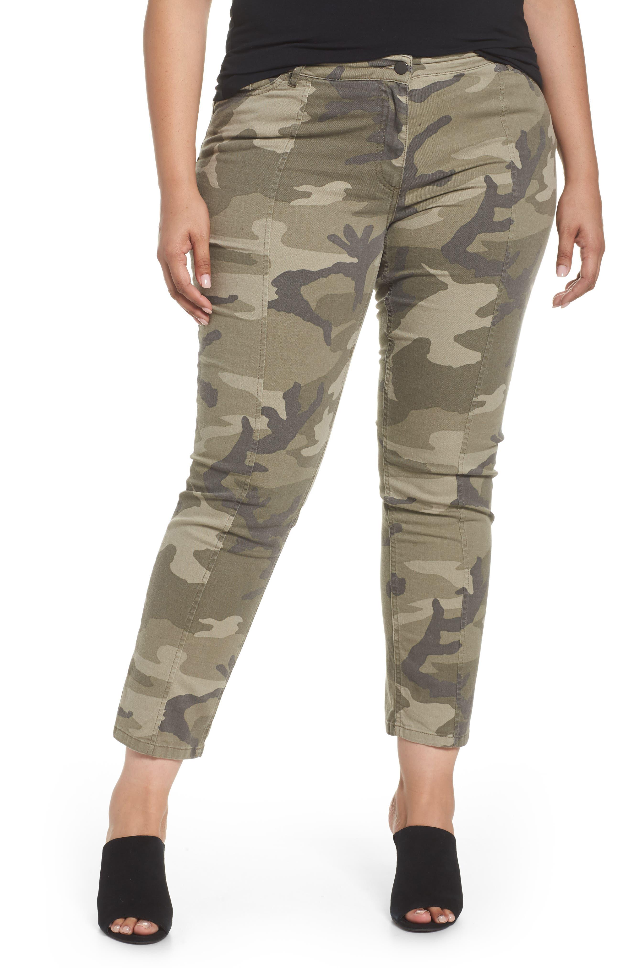 Camo Denim Pants,                         Main,                         color, Olive Green